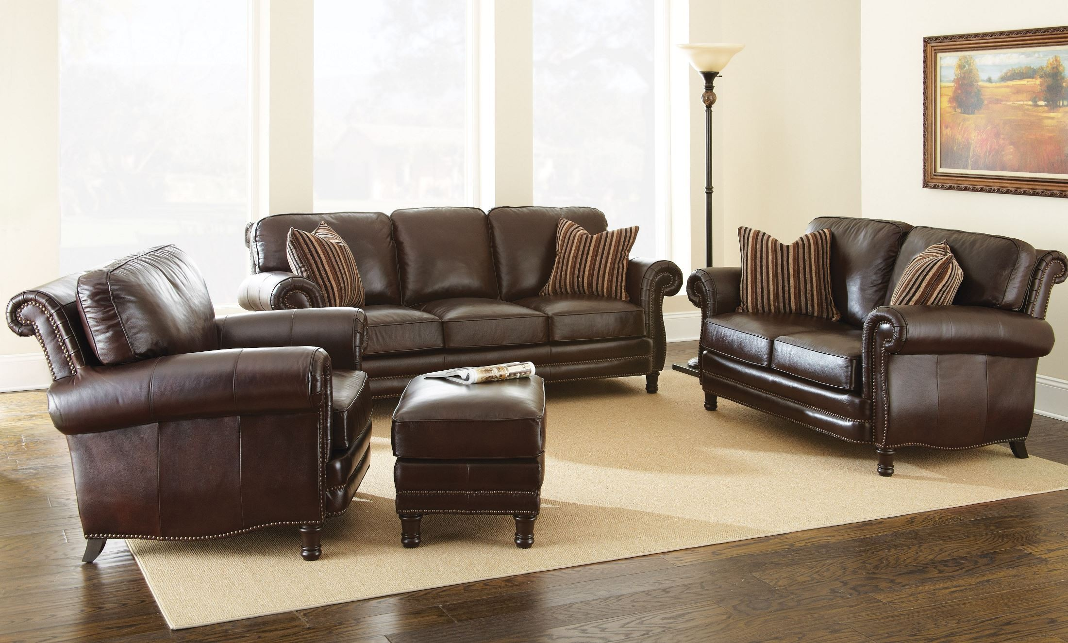 Chateau Top Grain Leather Living Room Set Ch860s Steve Silver