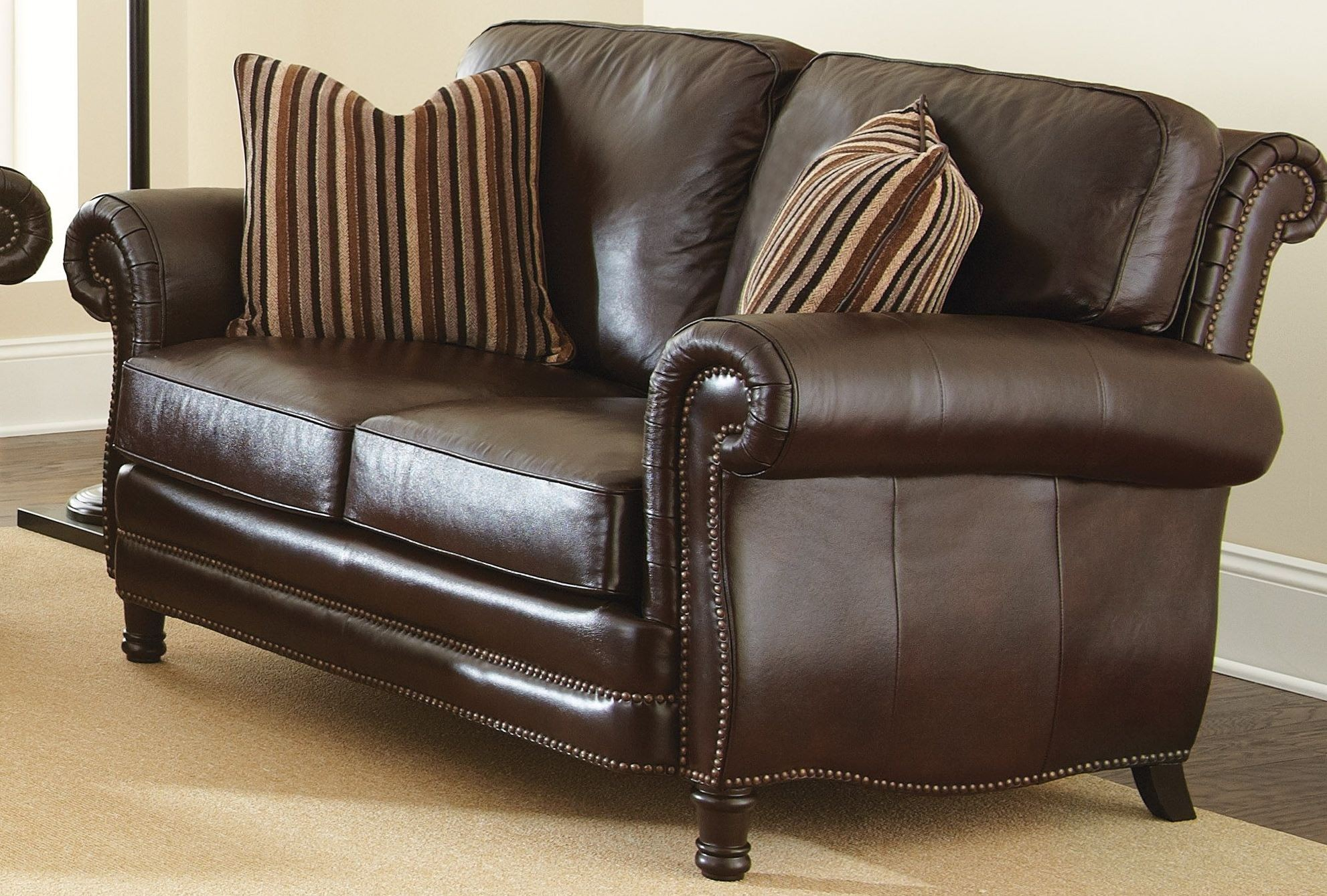 Chateau Top Grain Leather Loveseat With 2 Accent Pillows