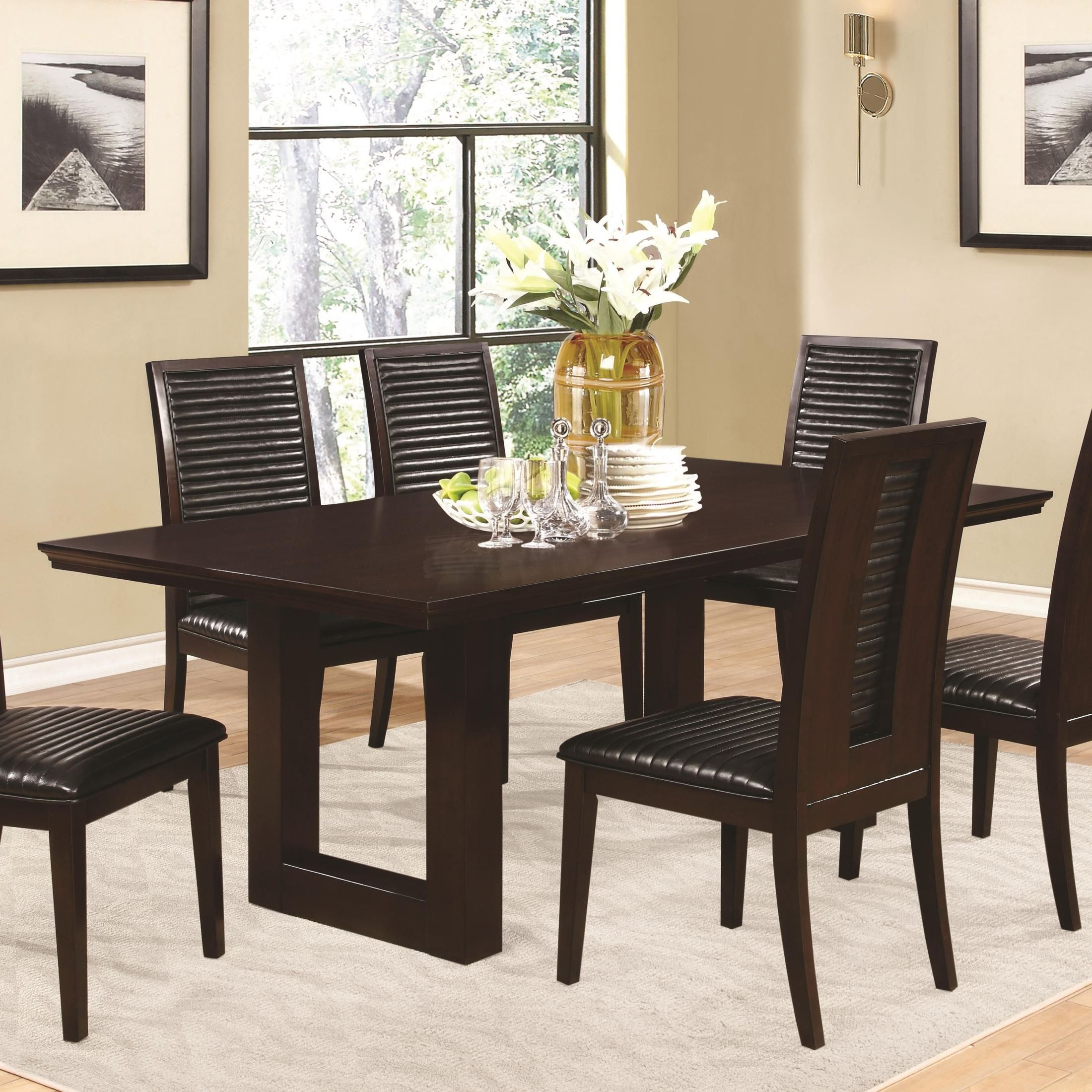 Chester Rectangular Pedestal Dining Table From Coaster 105721