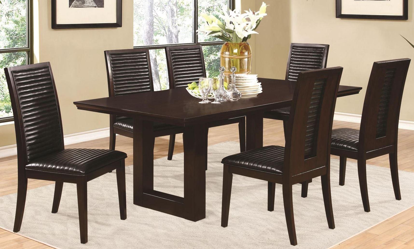 chester rectangular pedestal dining room set from coaster 105721 coleman furniture. Black Bedroom Furniture Sets. Home Design Ideas