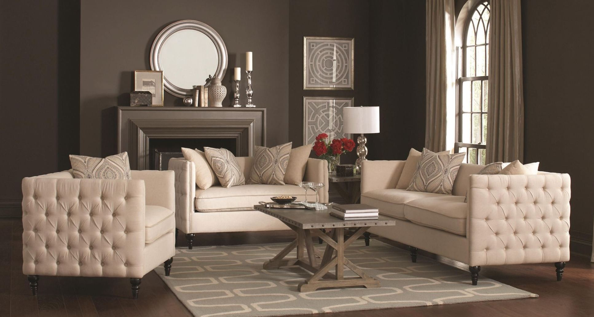 Claxton Beige Living Room Set From Coaster 504891