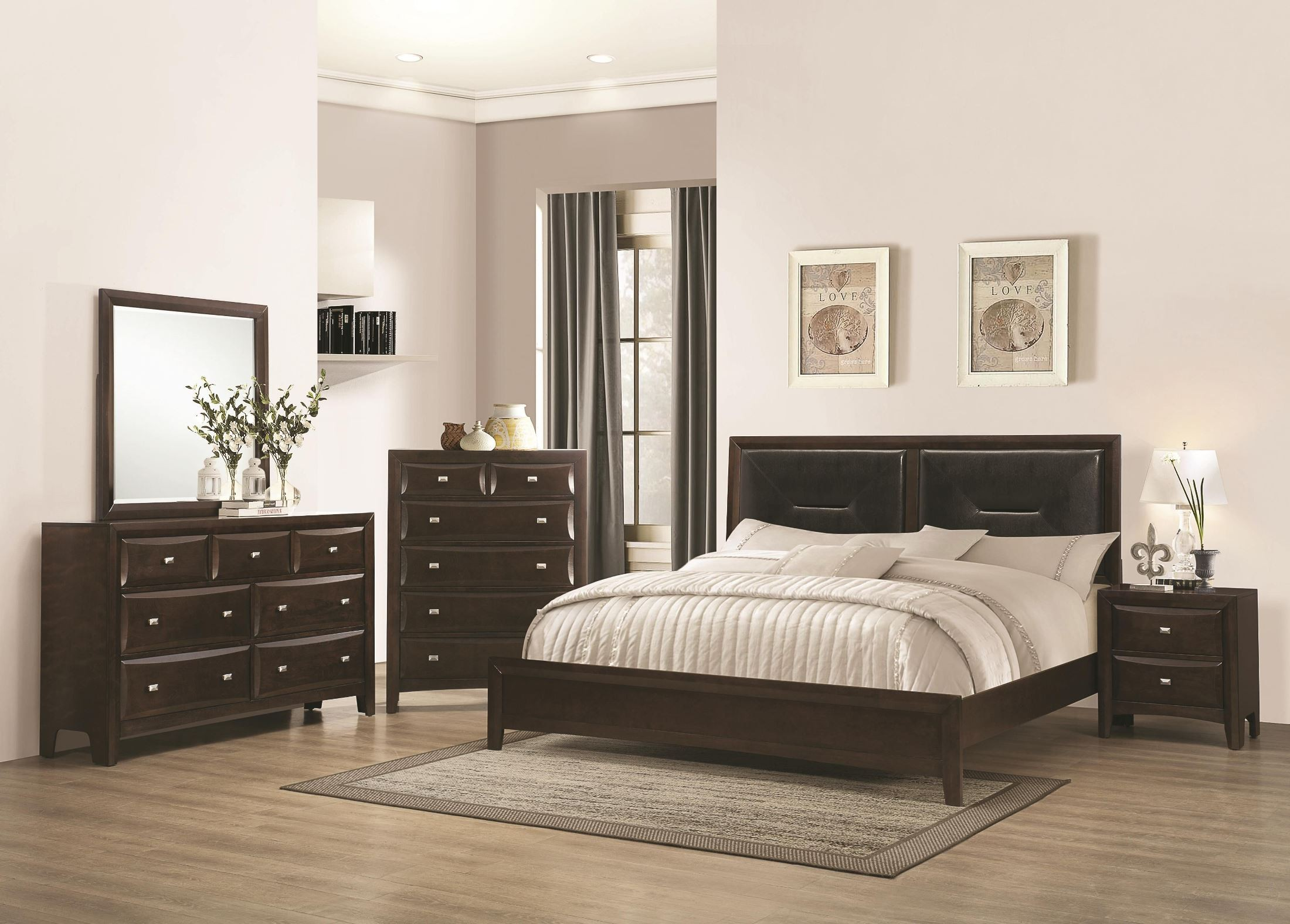 cloverdale cappuccino low profile upholstered bedroom set