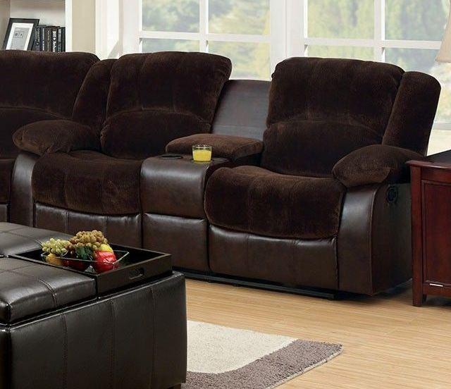 winchester brown champion center console loveseat cm6556cp l ct furniture of america. Black Bedroom Furniture Sets. Home Design Ideas