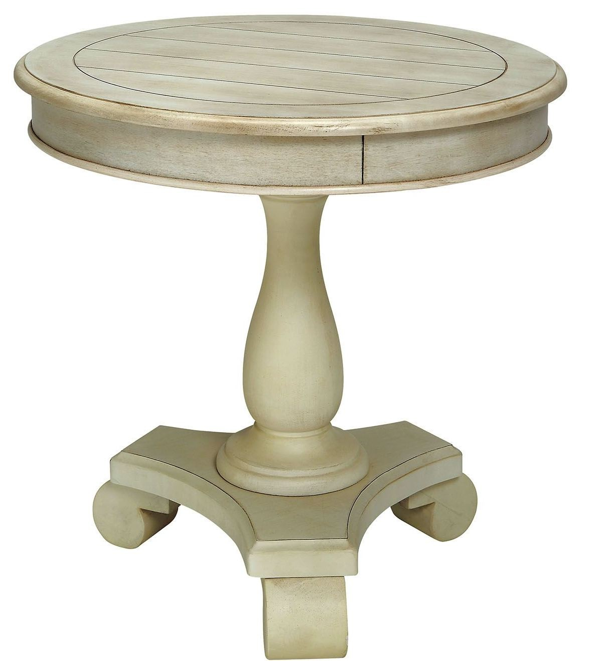 Kalea antique white round accent table cm ac135wh for White end table
