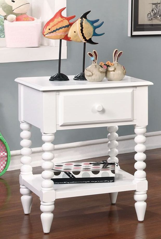 Lindsey White Night Stand Cm Ac323wh Furniture Of America