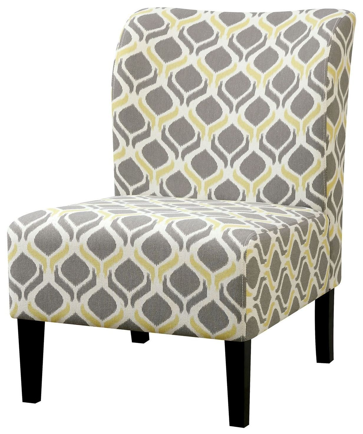 Prue Yellow Gray Ogee Pattern Accent Chair CM AC6507Y Furniture Of Am