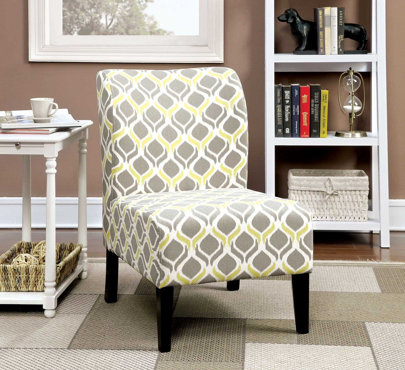 Prue Yellow & Gray Ogee Pattern Accent Chair CM AC6507Y