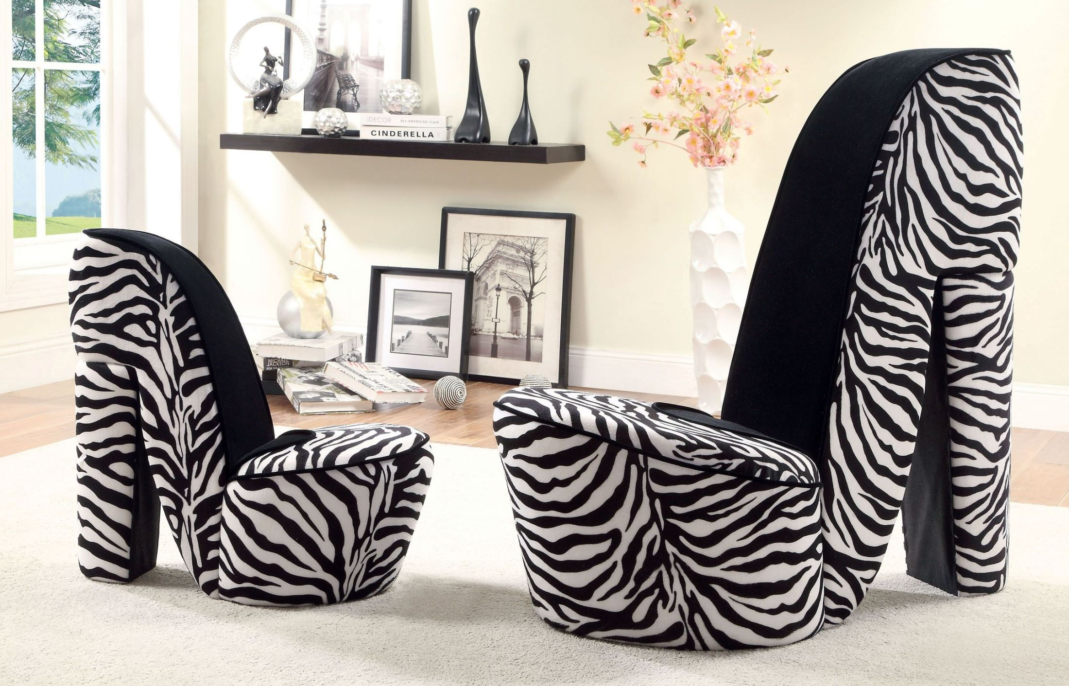 heely zebra print small accent chair cm ac6807zb s. Black Bedroom Furniture Sets. Home Design Ideas