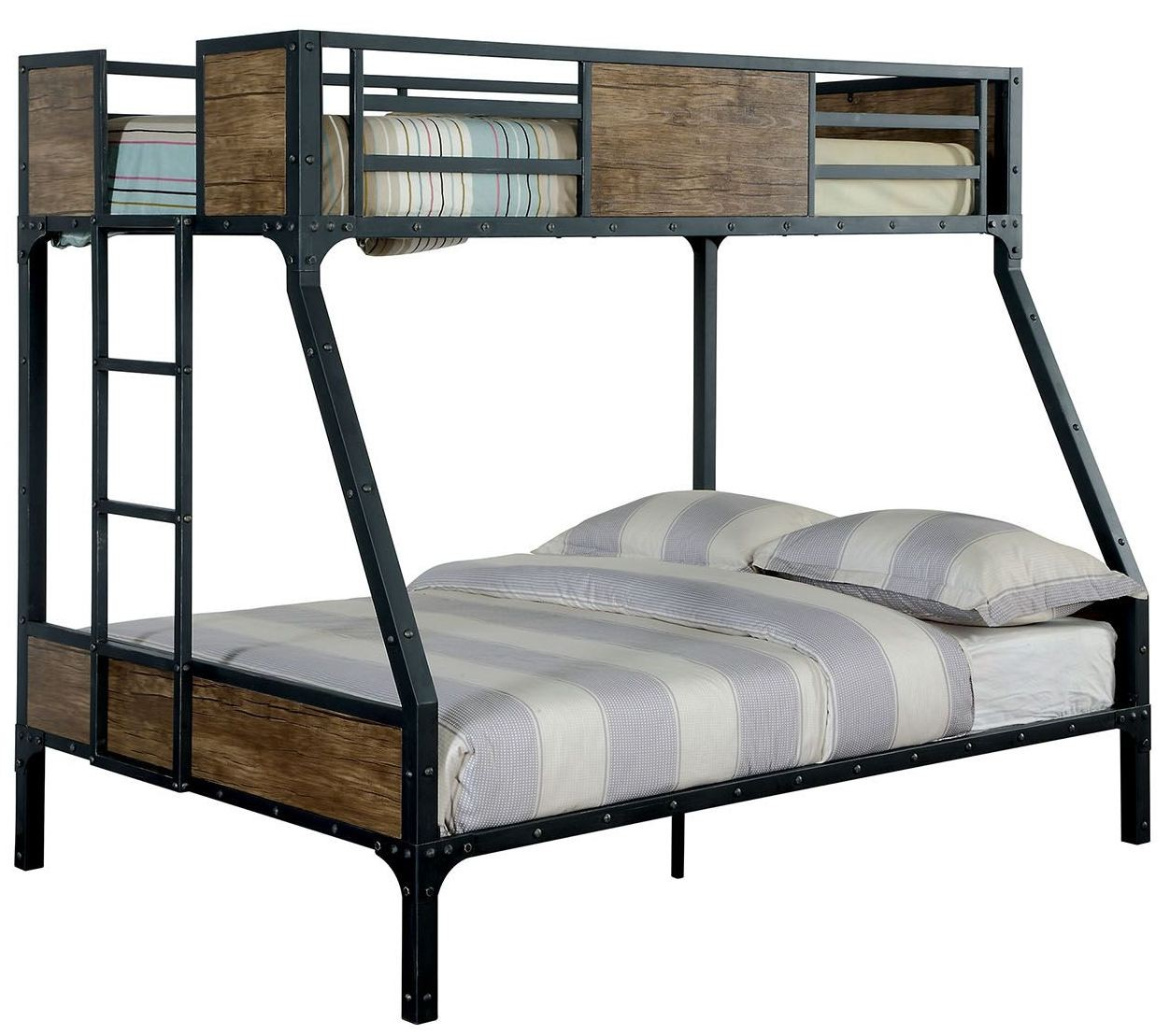 clapton twin over full metal bunk bed cm bk029tf furniture of america. Black Bedroom Furniture Sets. Home Design Ideas