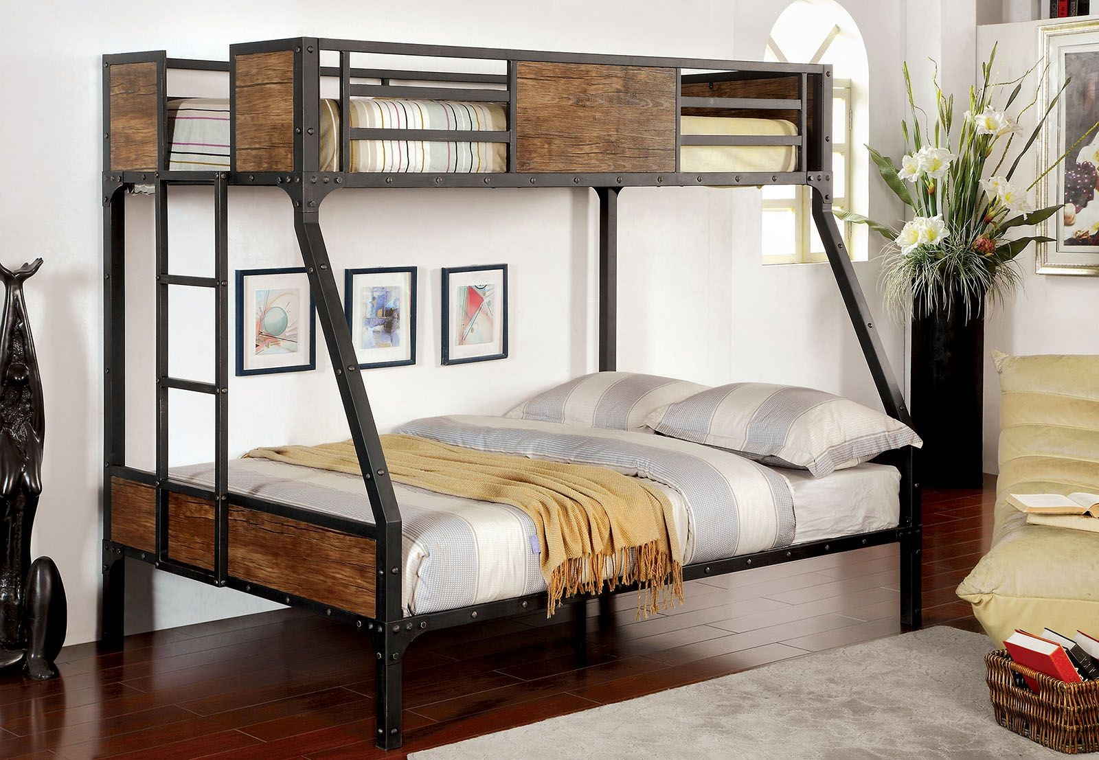 Clapton Twin Over Full Metal Bunk Bed CM BK029TF