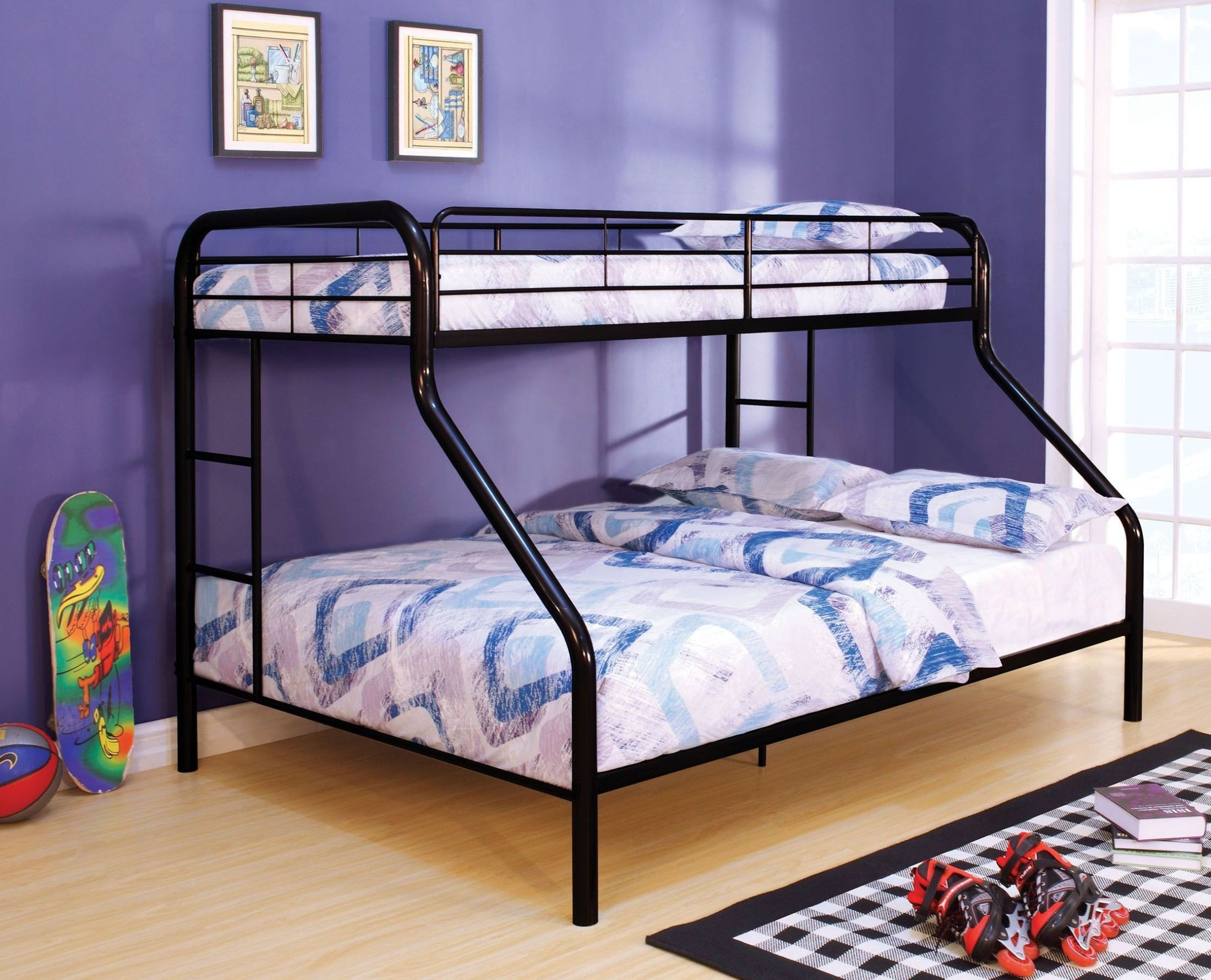 Rainbow black twin over queen bunk bed cm bk1133bk 2 twin beds make a queen