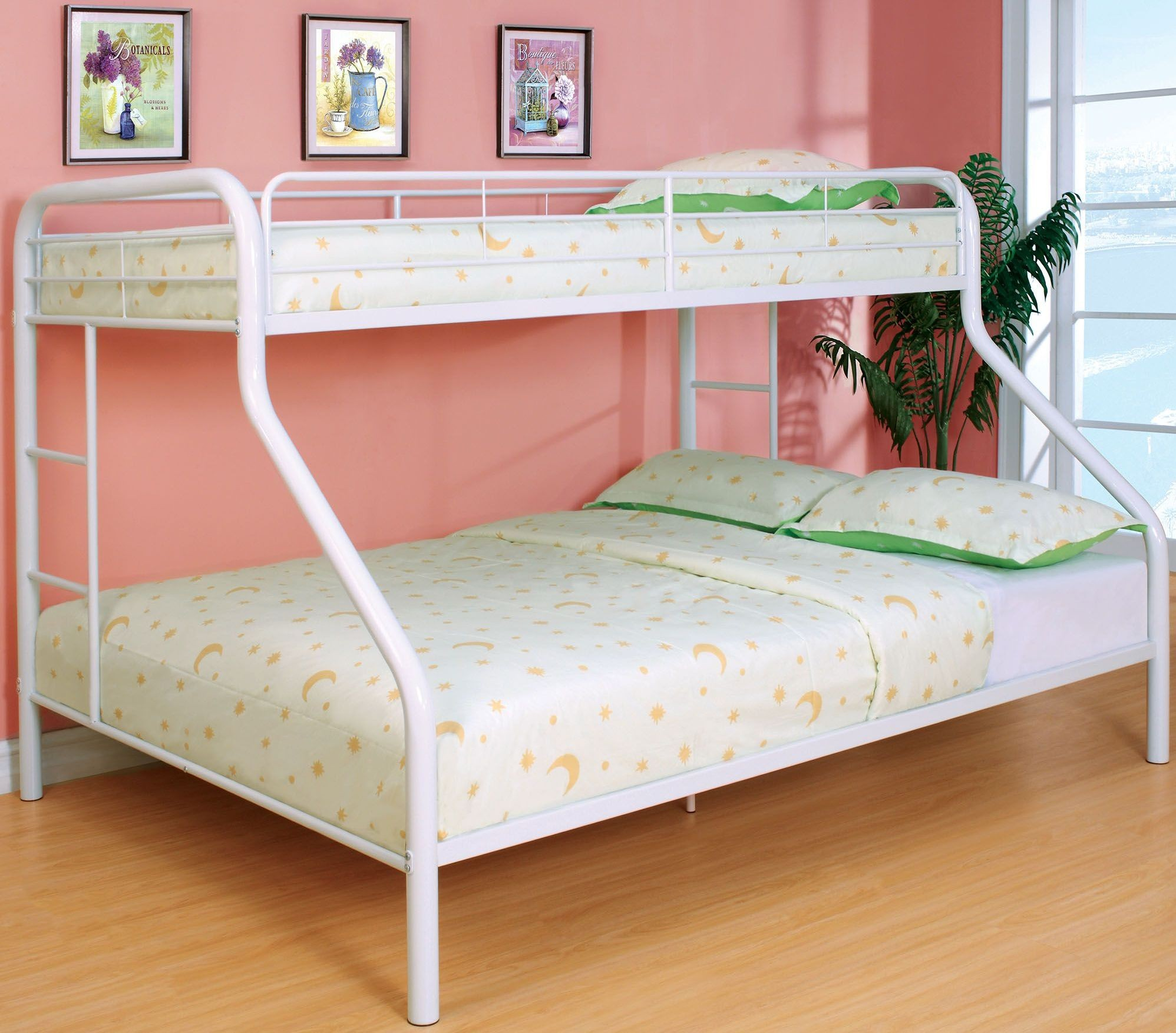 Rainbow white twin over queen bunk bed cm bk1133wh 2 twin beds make a queen