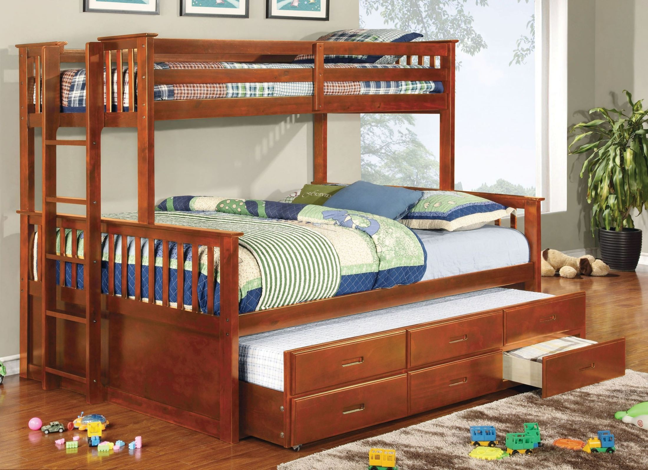 University Oak Extra Long Twin Over Queen Bunk Bed From