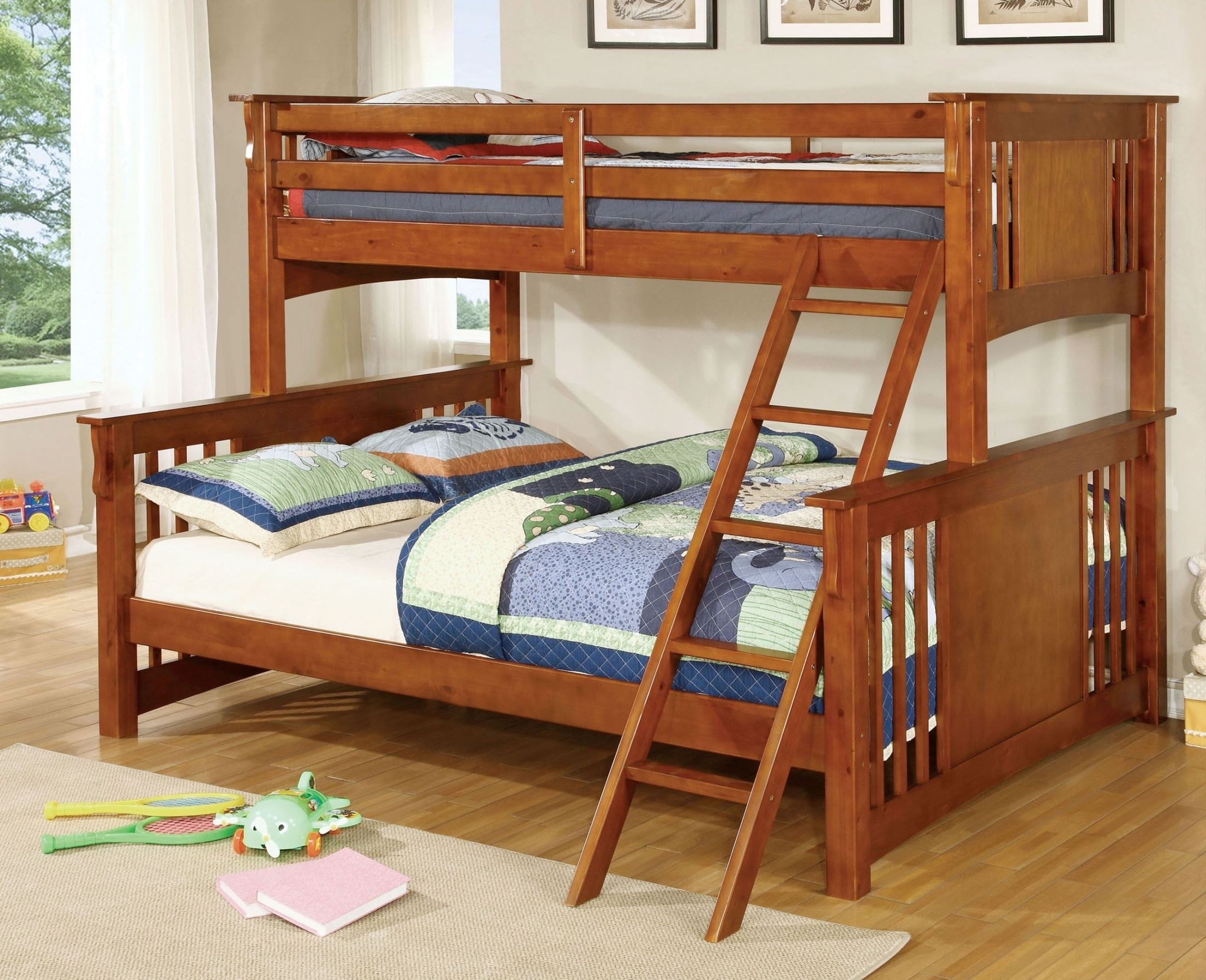 spring creek oak twin extra large twin over queen bunk bed from furniture of america cm. Black Bedroom Furniture Sets. Home Design Ideas