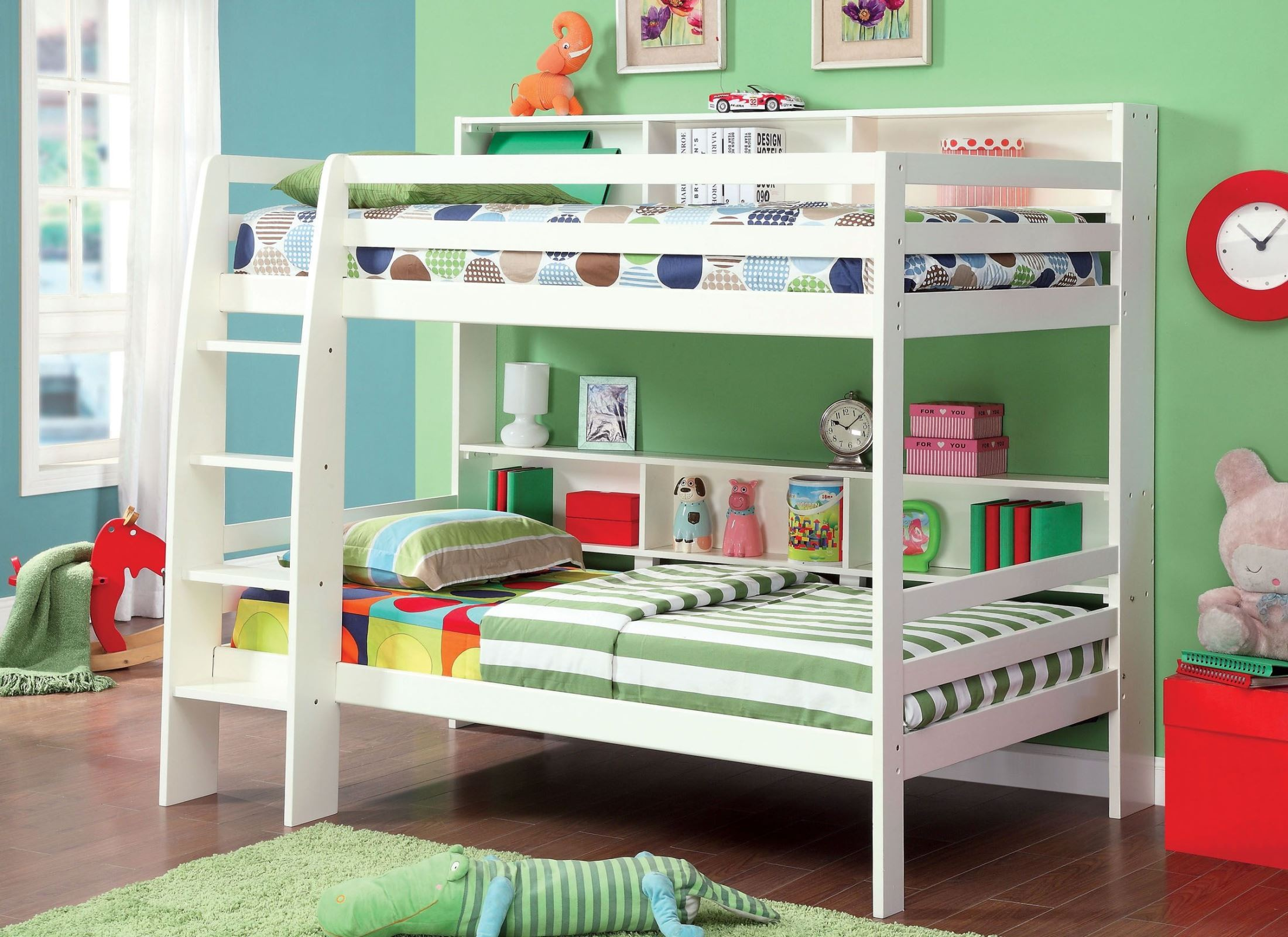 Camino white twin over twin bunk bed from furniture of for White twin bunk beds