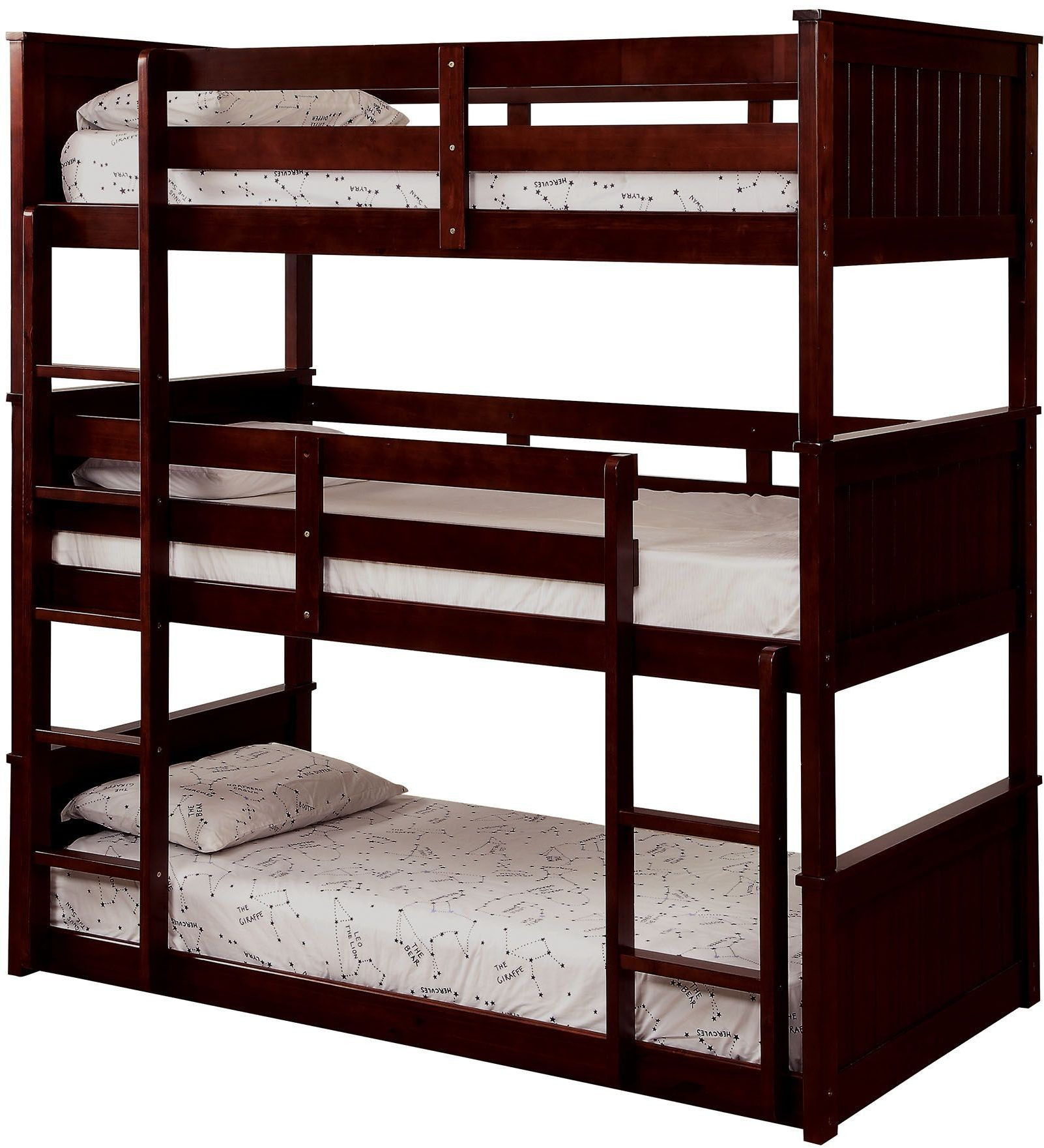 Therese espresso triple twin decker bunk bed cm bk628 for Furniture of america mattress