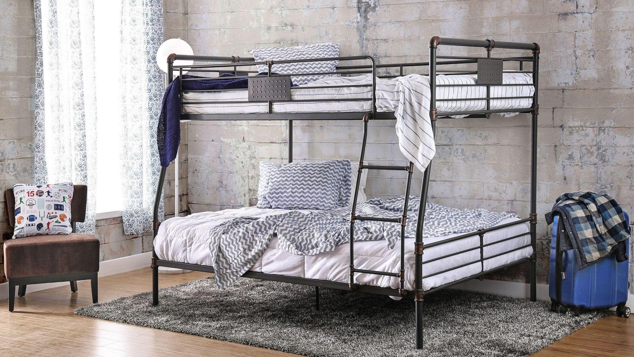 olga i antique black full over queen bunk bed cm bk913fq furniture of america. Black Bedroom Furniture Sets. Home Design Ideas