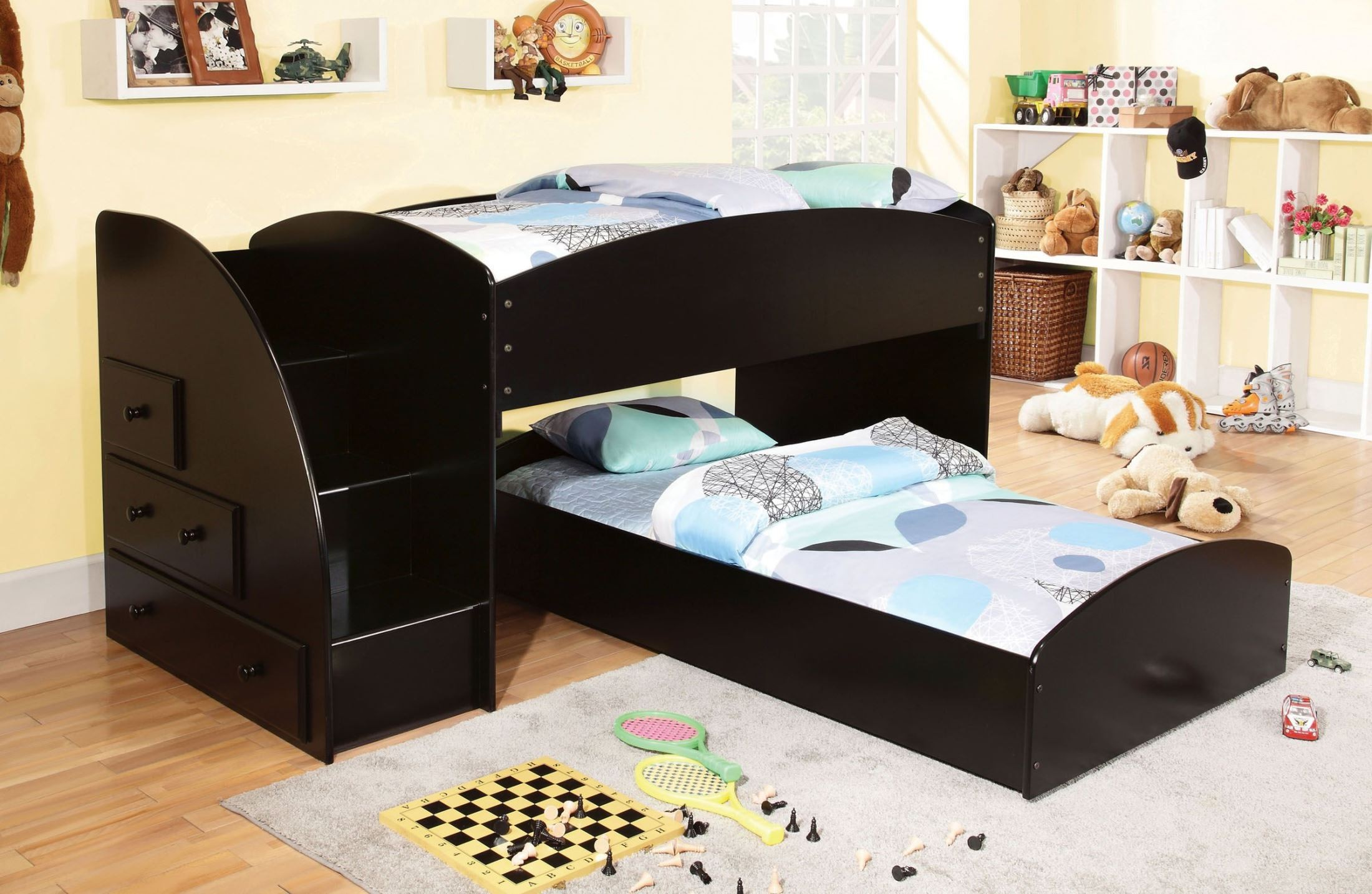 Merritt black twin over twin bunk bed from furniture of Black twin bed