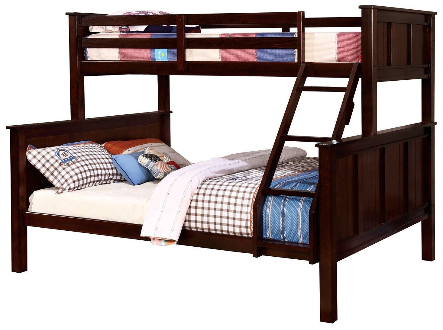 gracie dark walnut twin over queen bunk bed cm bk930tq furniture of america. Black Bedroom Furniture Sets. Home Design Ideas