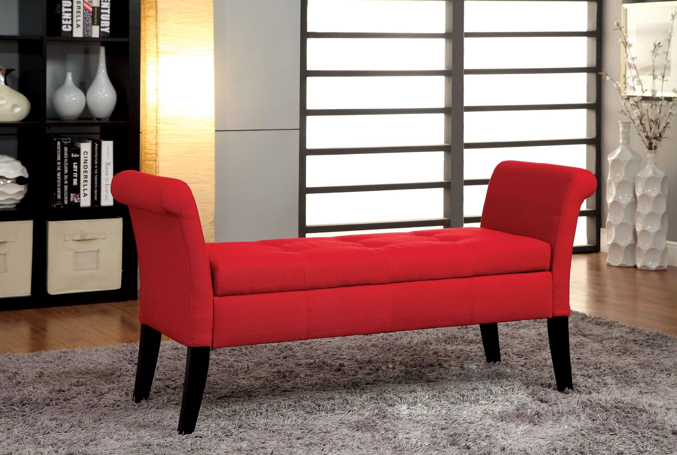 Doheny Red Fabric Storage Bench From Furniture Of America Cm Bn6190rd Coleman Furniture