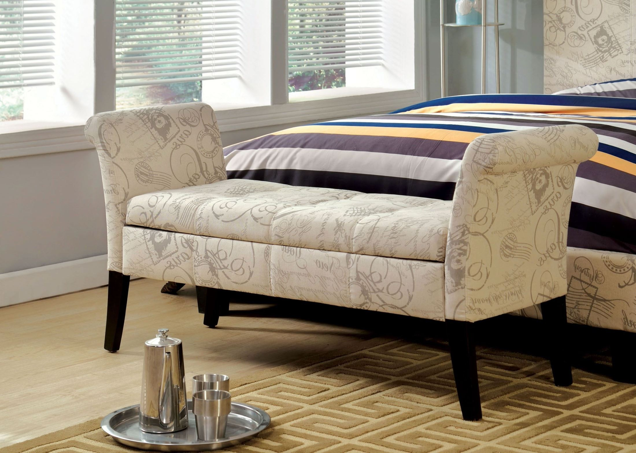 Doheny White Fabric Storage Bench From Furniture Of America Cm Bn6190wt Coleman Furniture