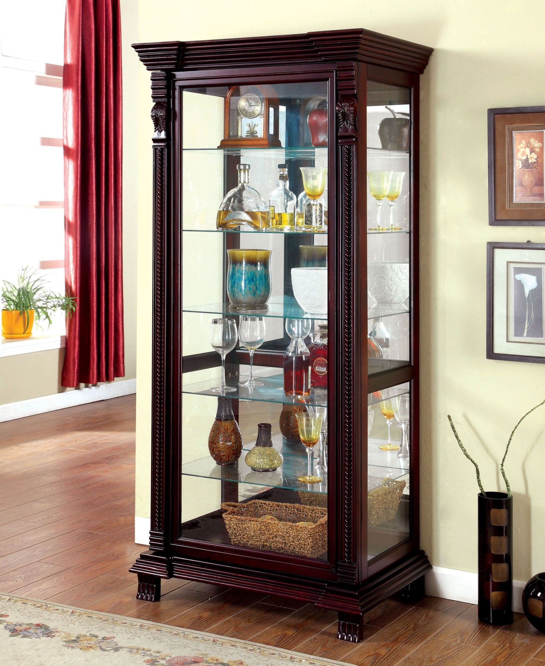 Tulare Dark Cherry Curio Cabinet From Furniture Of America