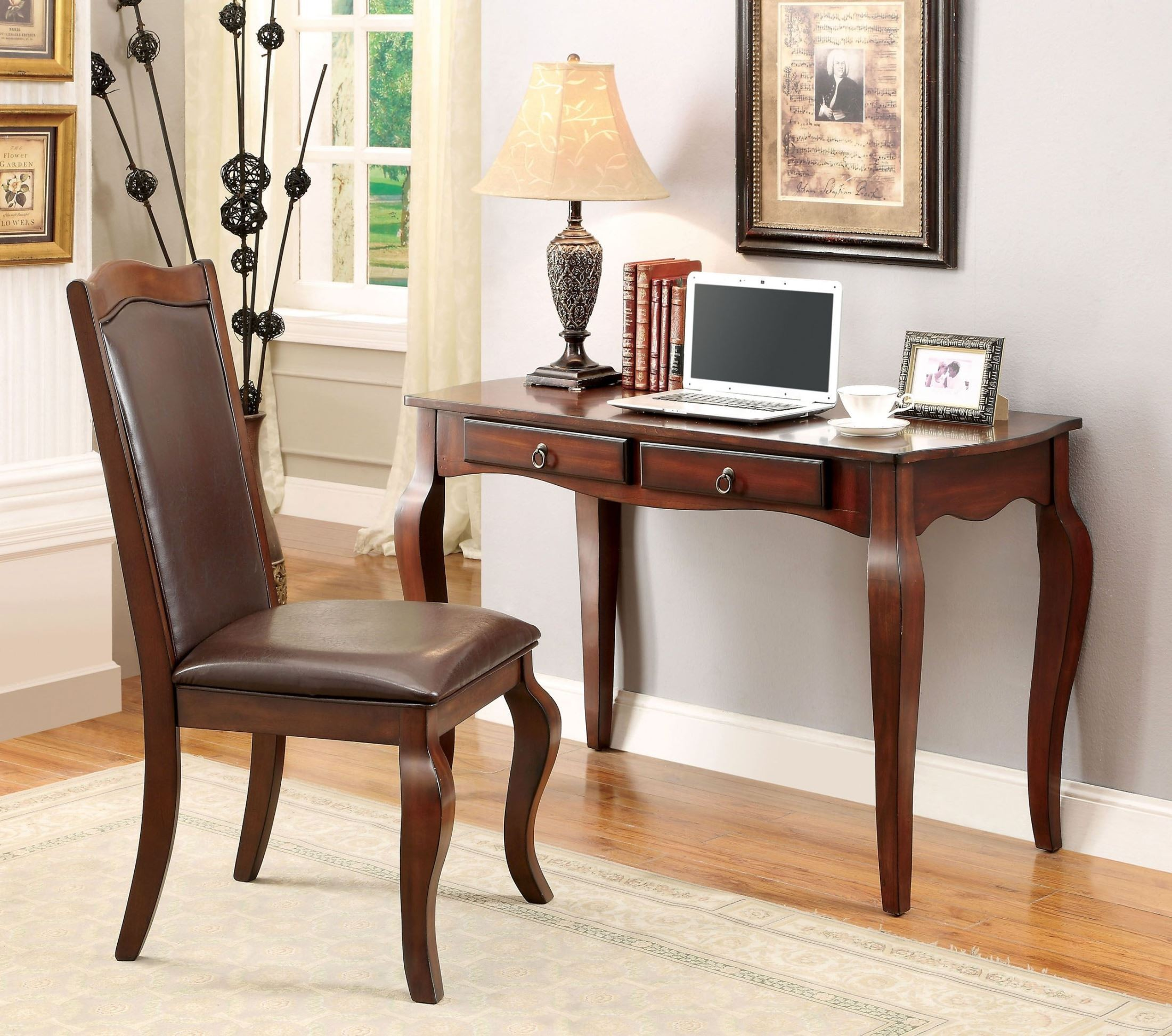Almont cherry accent desk with chair from furniture of