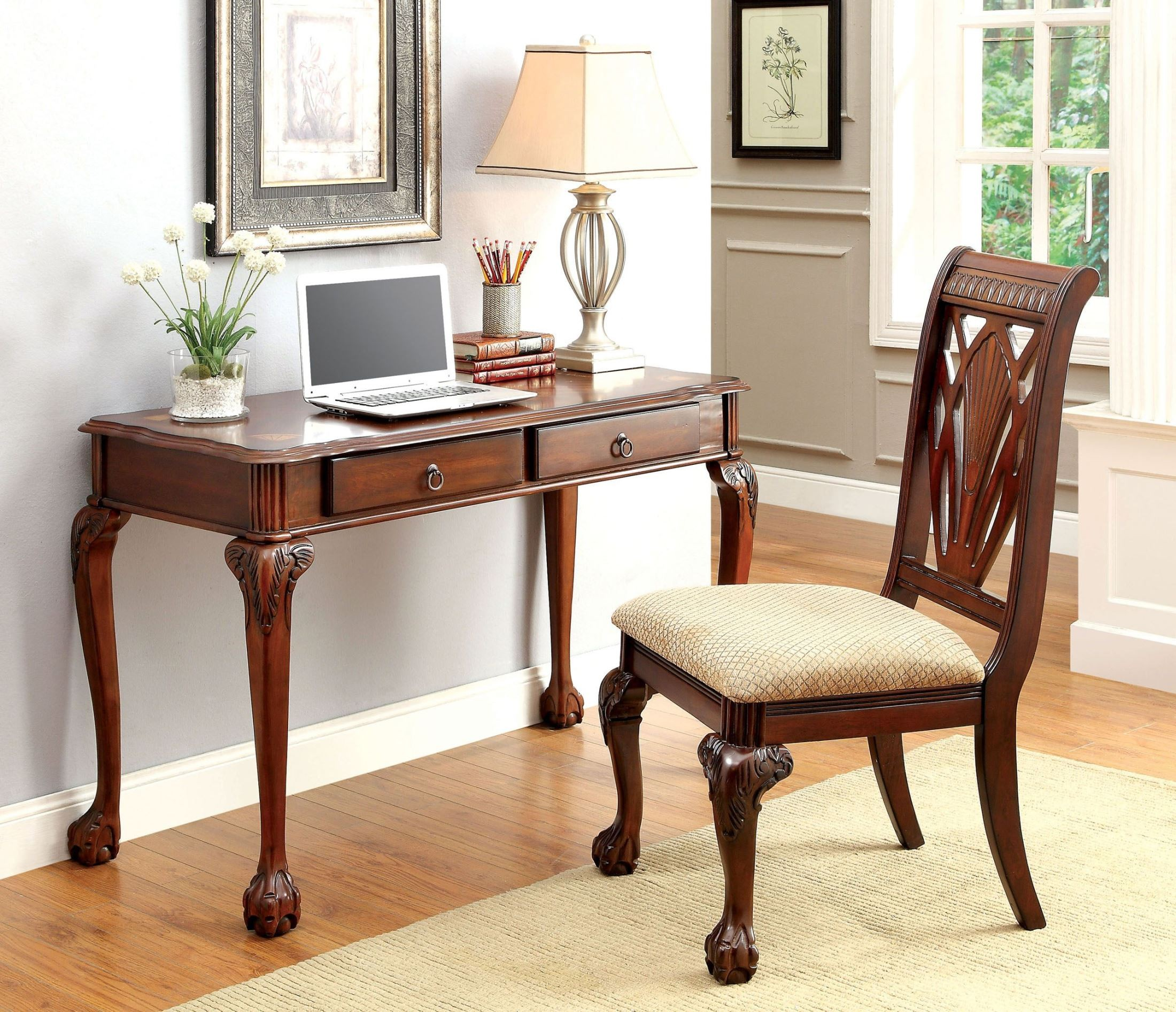 Hillsboro cherry accent desk with chair from furniture of