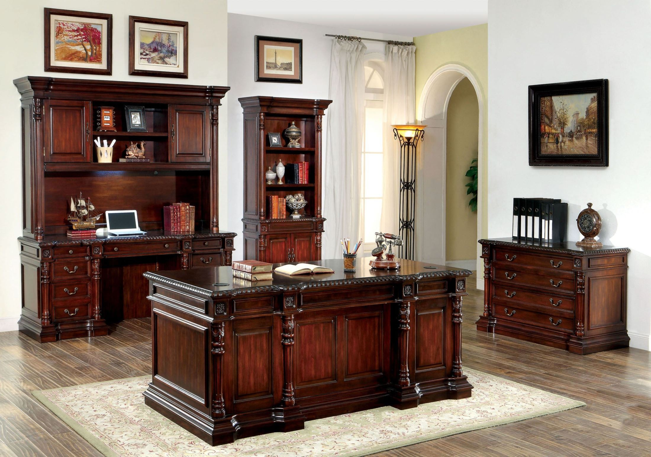Roosevelt Cherry Home Office Set from Furniture of America ...