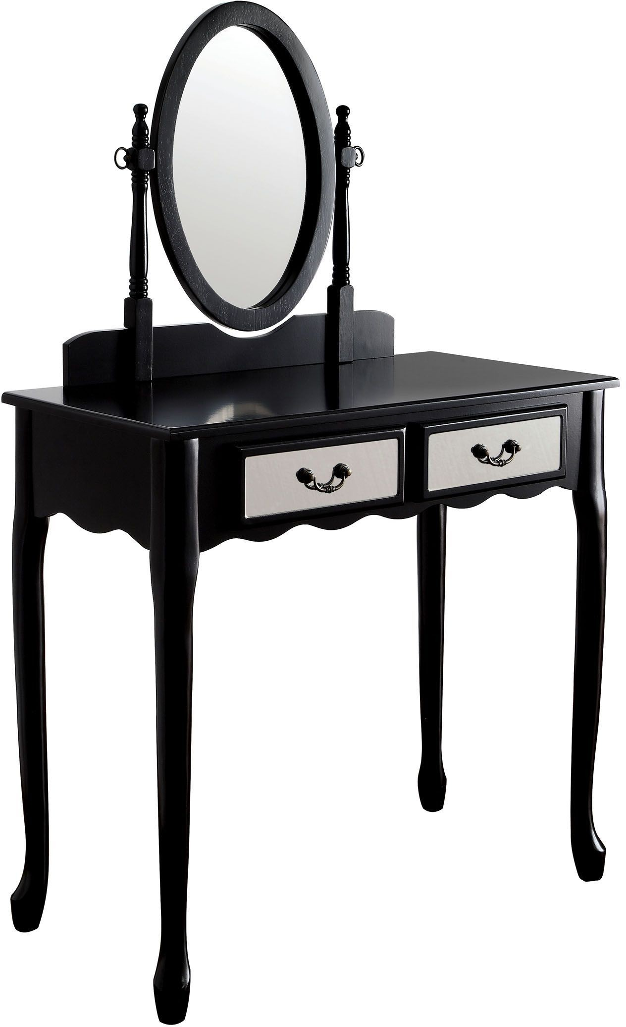 Adriana black vanity with stool cm dk6431bk furniture of america - Black and white vanity stool ...