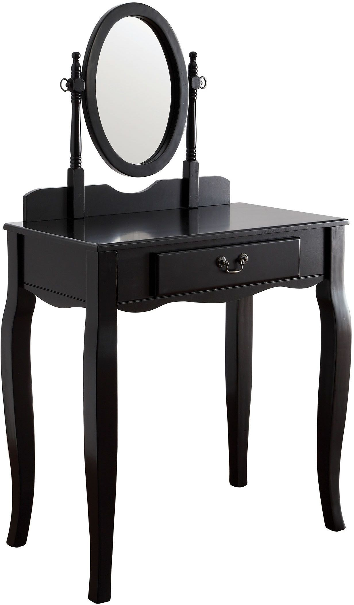 Samantha black vanity with stool cm dk6433bk furniture of america - Black and white vanity stool ...