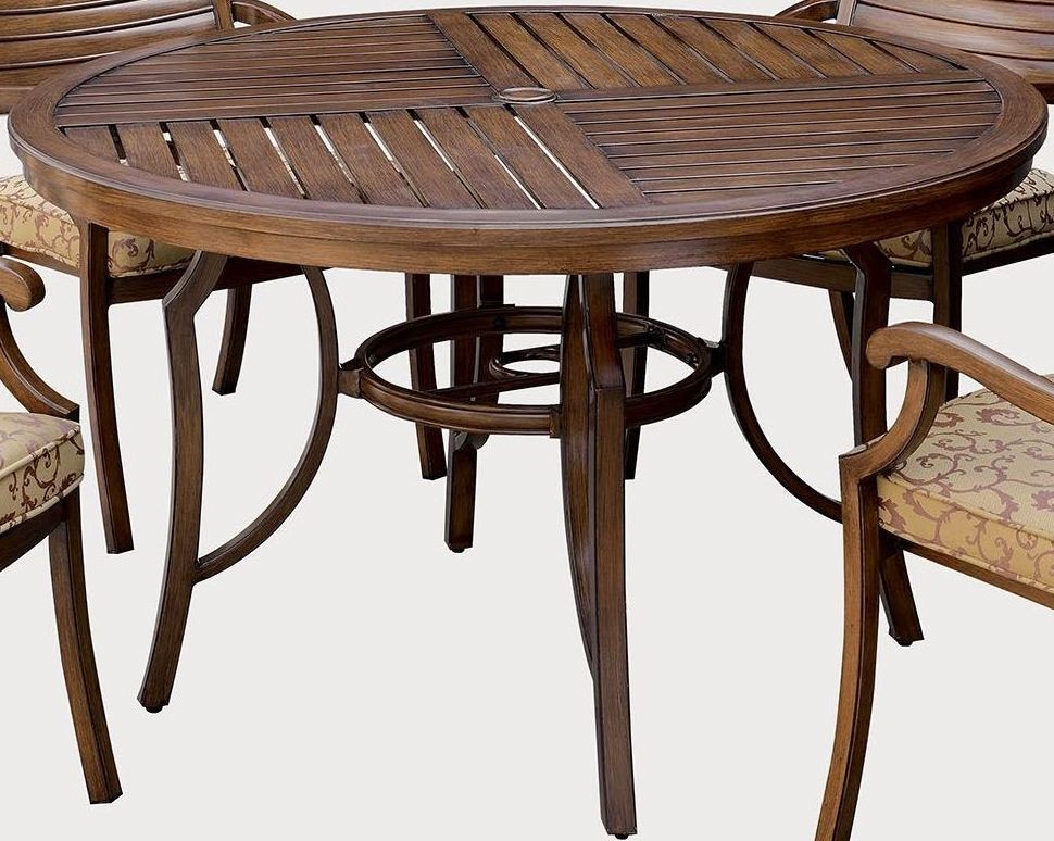 Desiree Brown Round Patio Dining Table CM OT2126 RT Furniture Of America