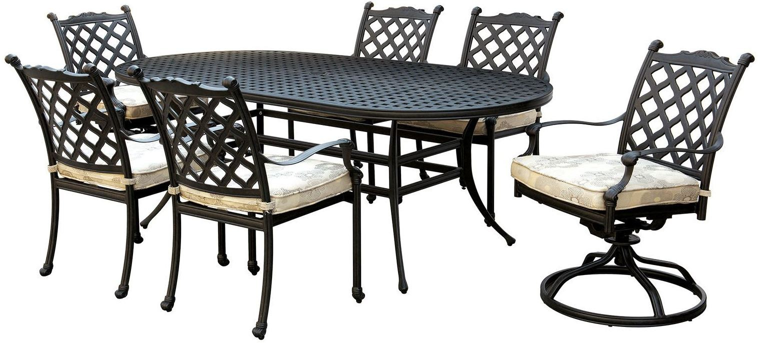Chiara I Dark Gray Oval Patio Dining Table CM OT2303 T Furniture Of