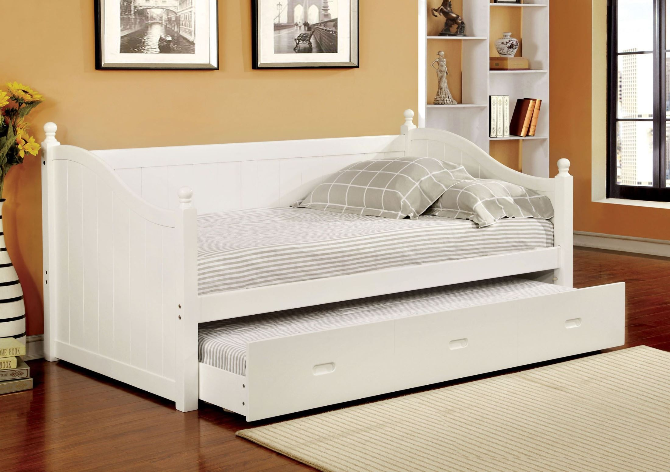 Walcott white twin trundle daybed from furniture of america cm1928wh bed coleman furniture White twin trundle bedroom set