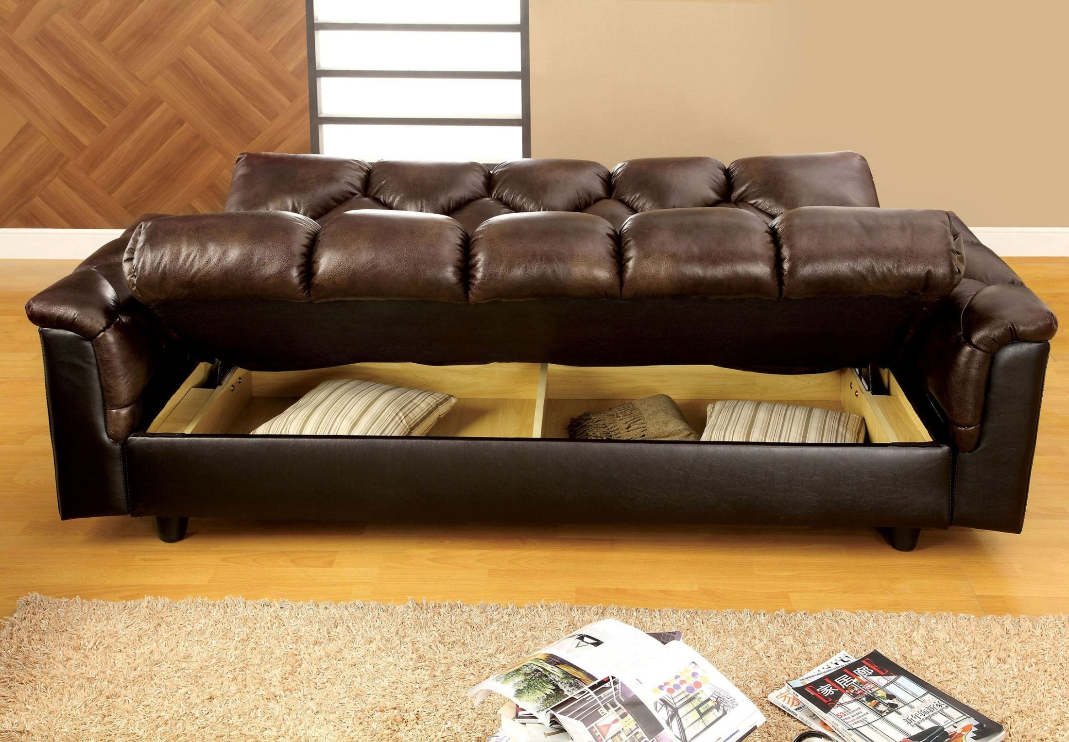 Bowie brown leather like futon storage sofa from furniture for Futon cama 2 cuerpos
