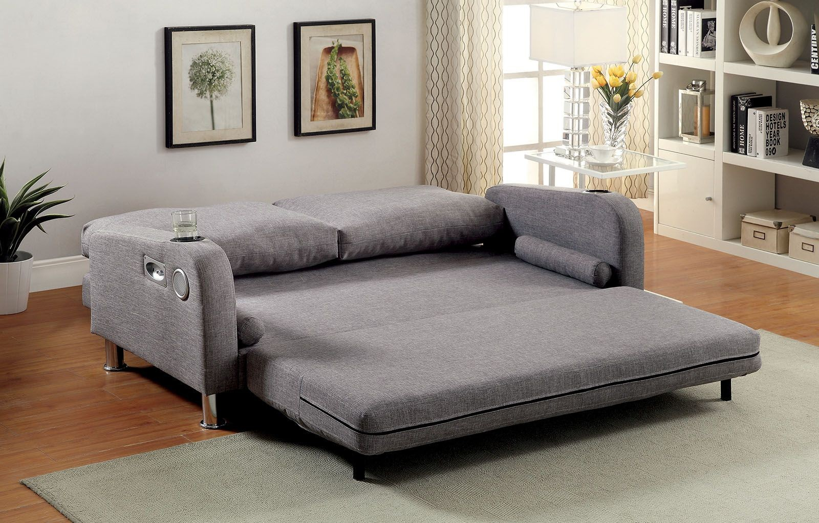 Raquel Gray Futon Sofa Cm2195 Furniture Of America