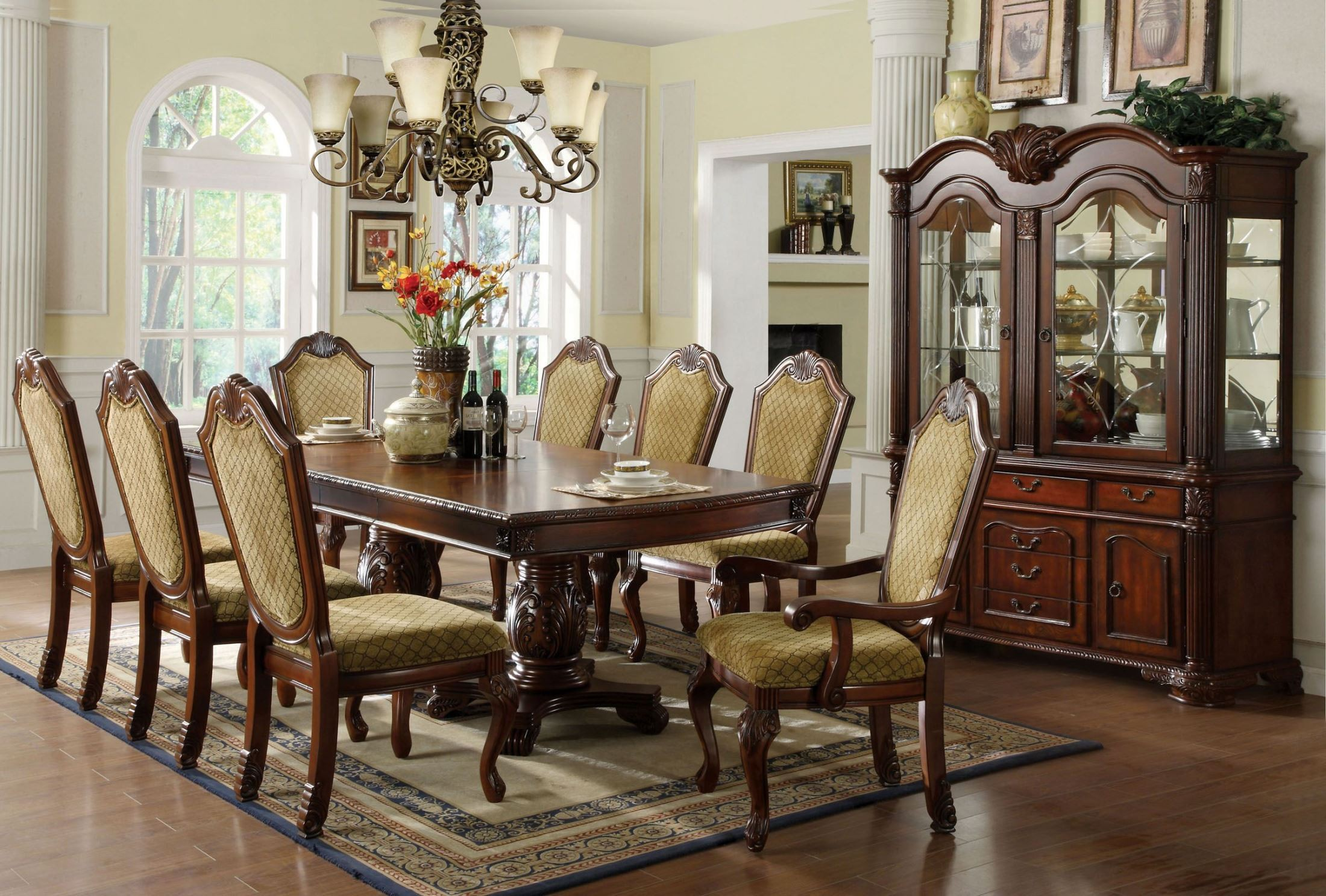 napa valley dark cherry rectangular double pedestals dining room set
