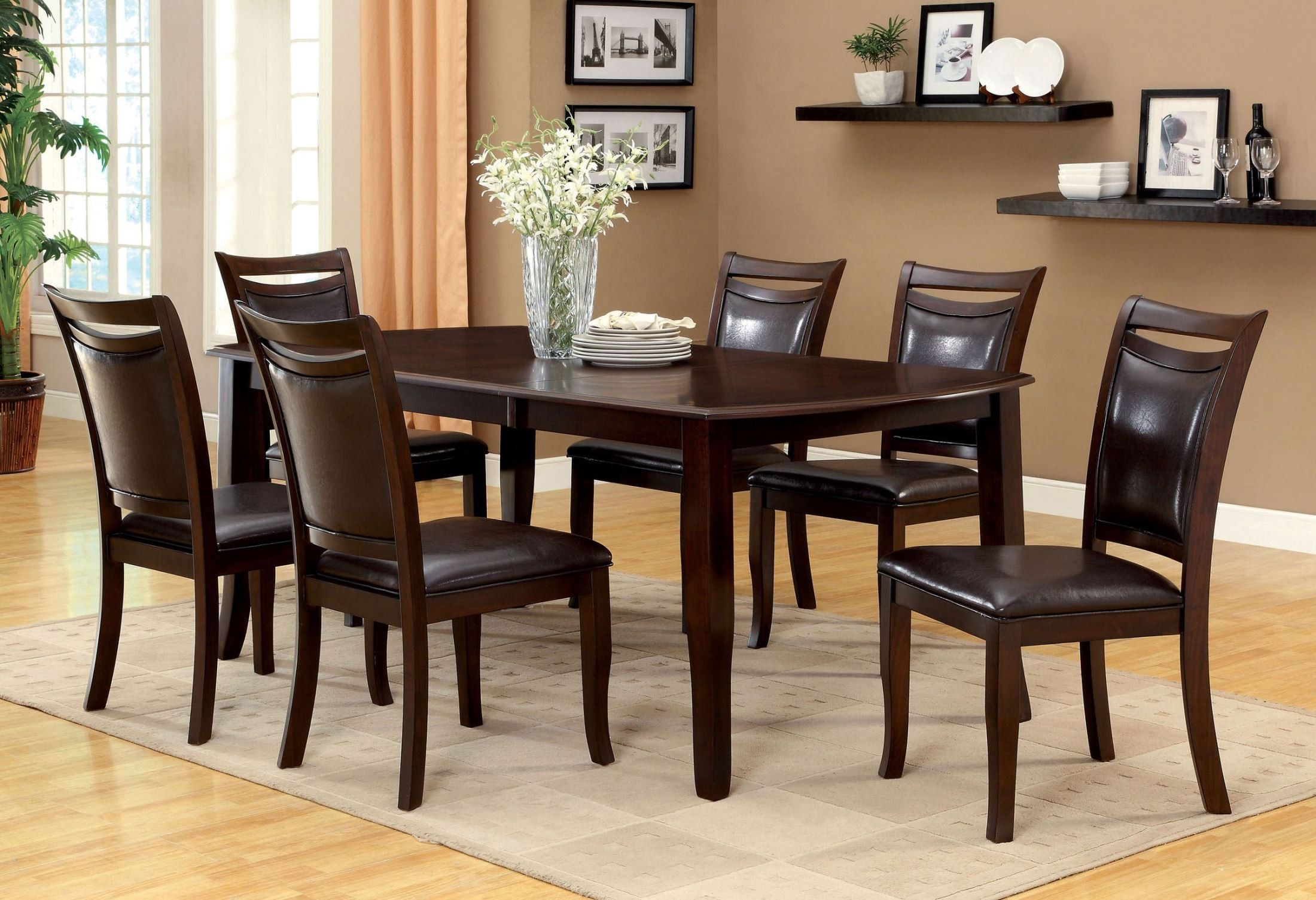 Woodside dark cherry rectangular extendable leg dining for Cherry dining room set