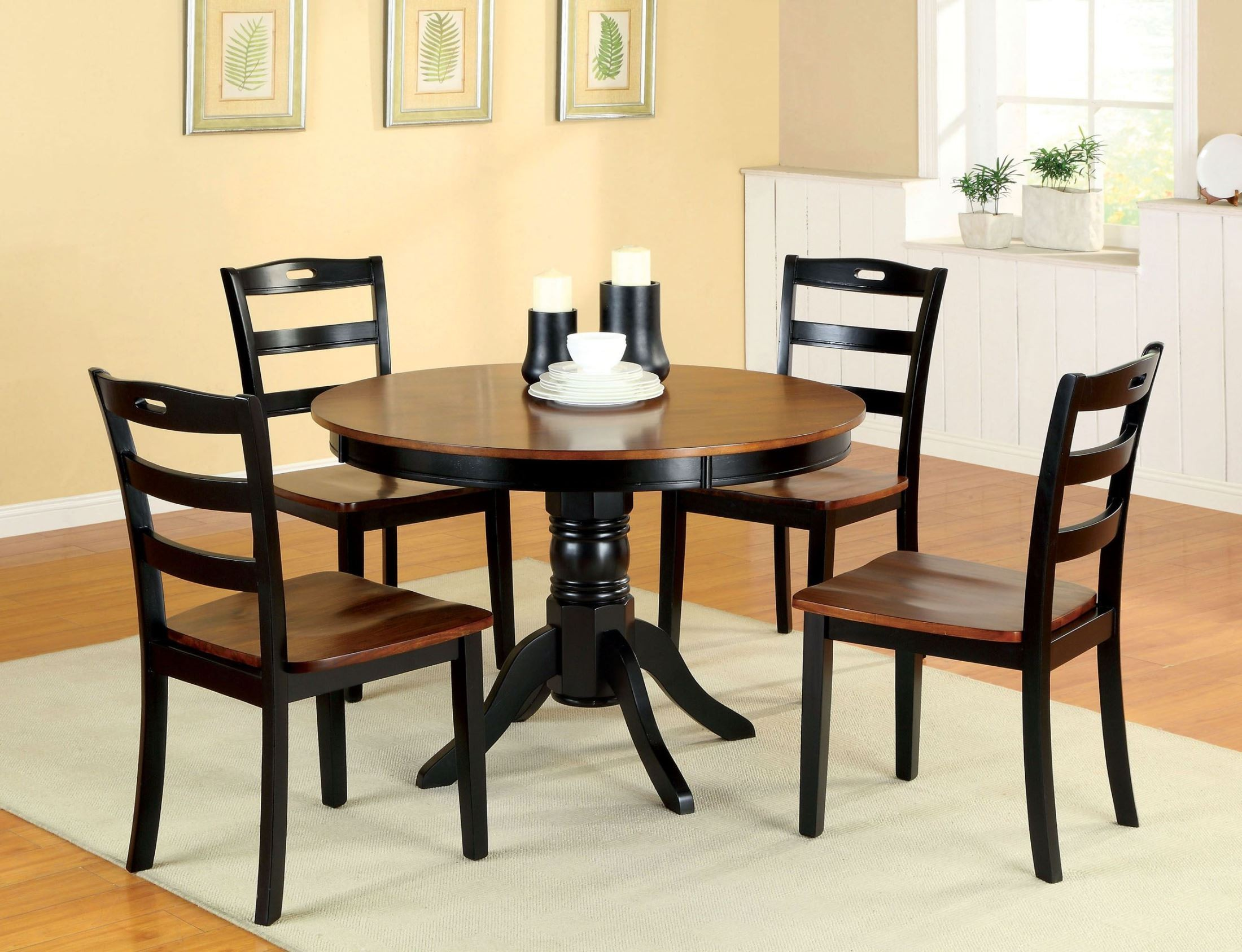 Johnstown antique oak and black round pedestal dining room for Black dining room furniture