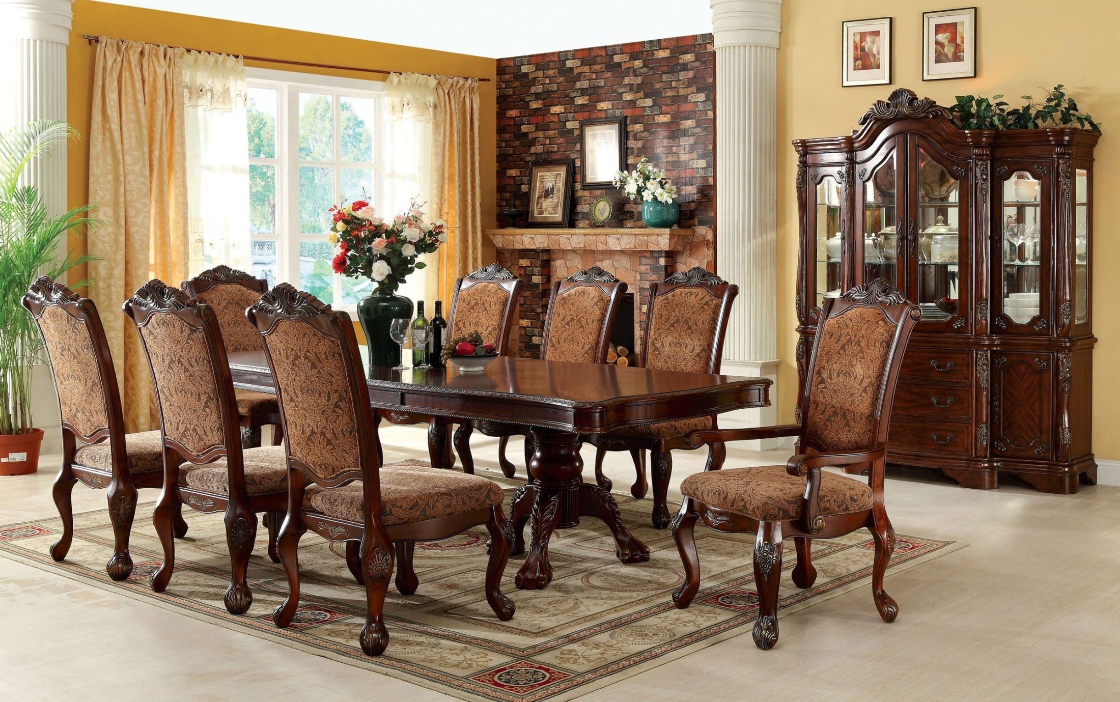 Cromwell antique cherry formal dining room set cm3103t for Formal dining room tables