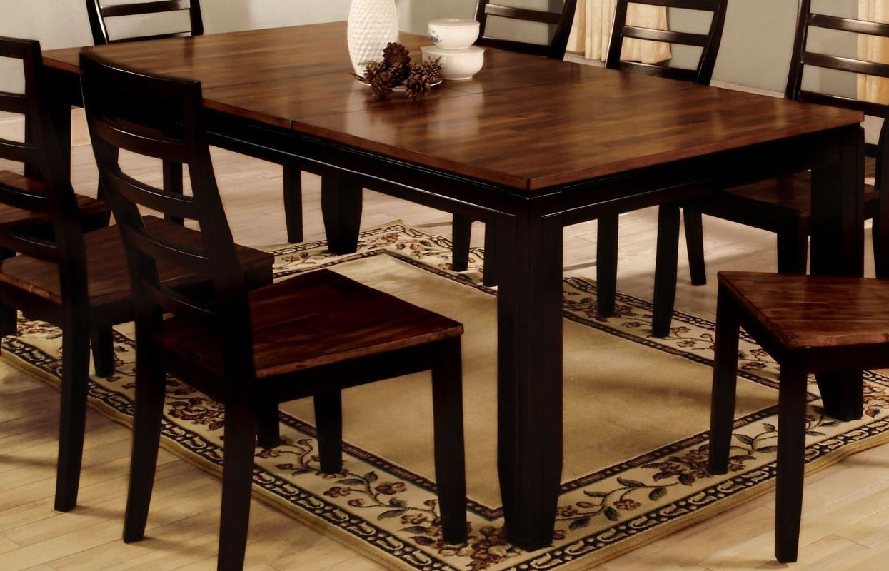 san isabel i acacia espresso rectangle extending leg dining table from furniture of america. Black Bedroom Furniture Sets. Home Design Ideas