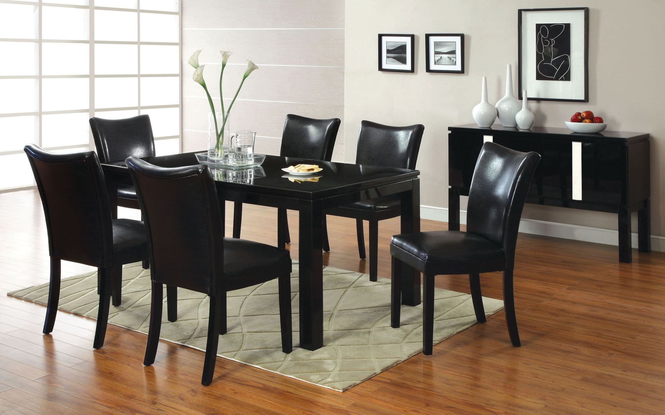 Lamia i black high gloss rectangular leg dining room set for Black front room furniture