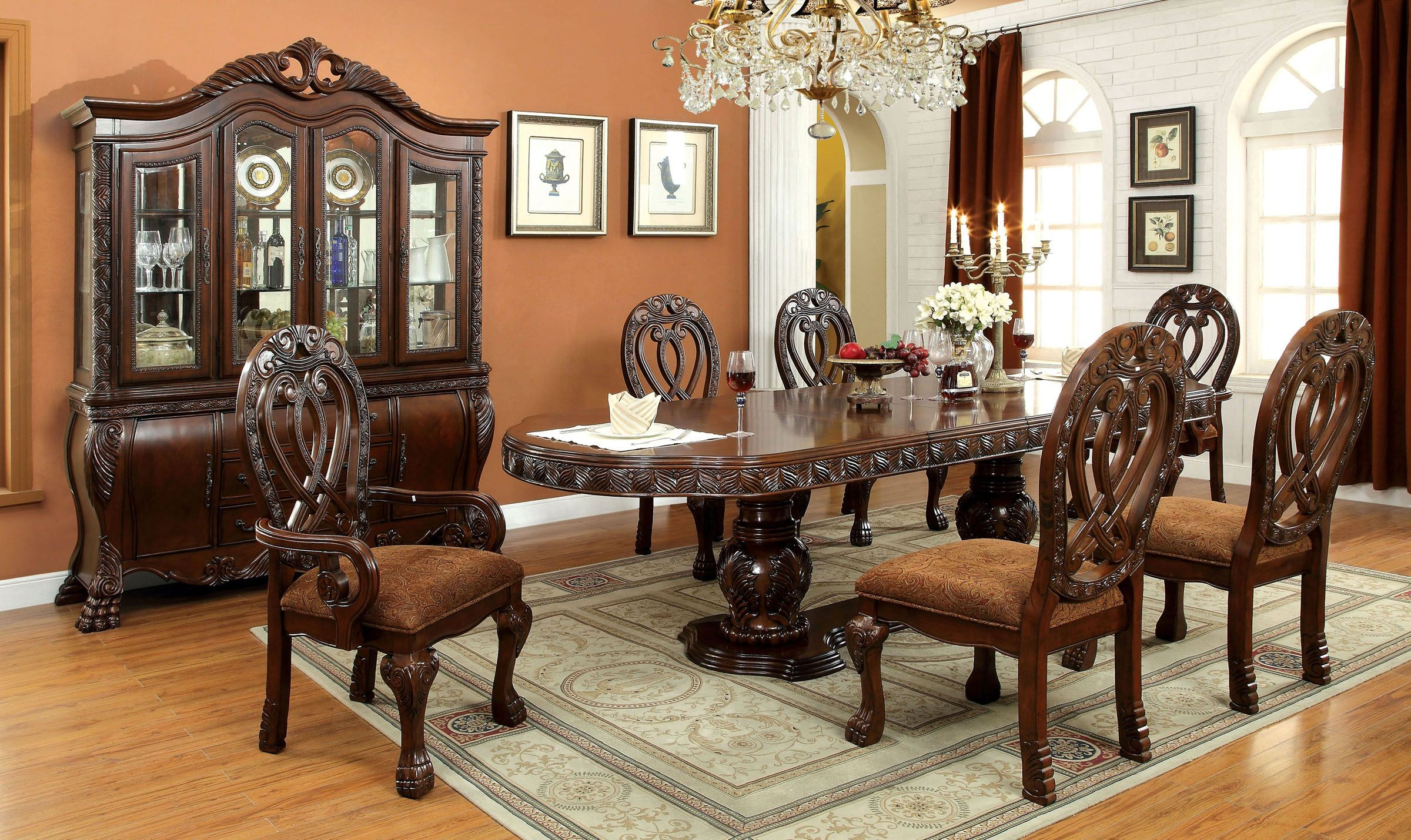 Wyndmere cherry oval extendable pedestal dining room set for Cherry dining room set