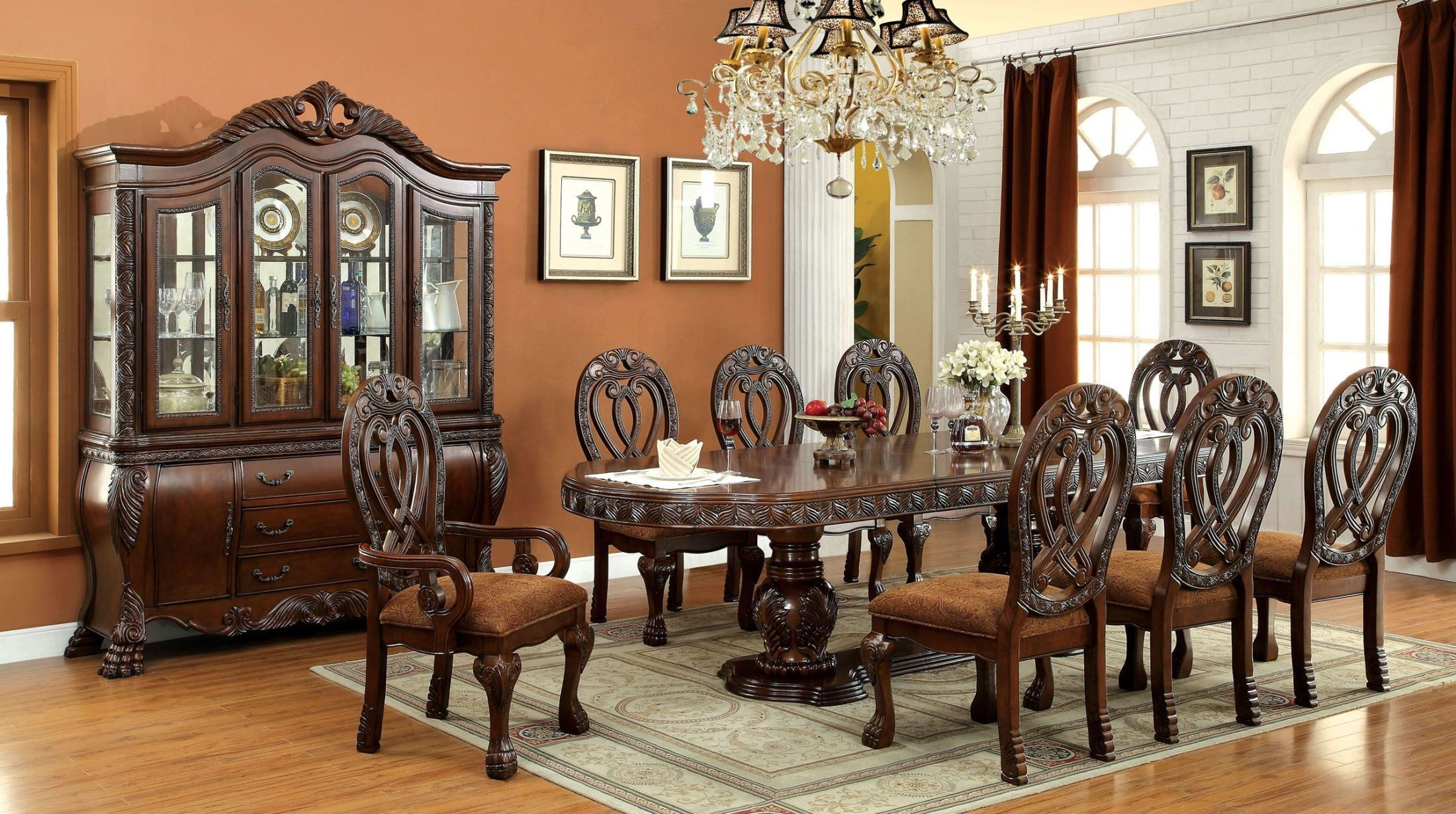 Wyndmere cherry oval extendable pedestal dining room set for Dining room t