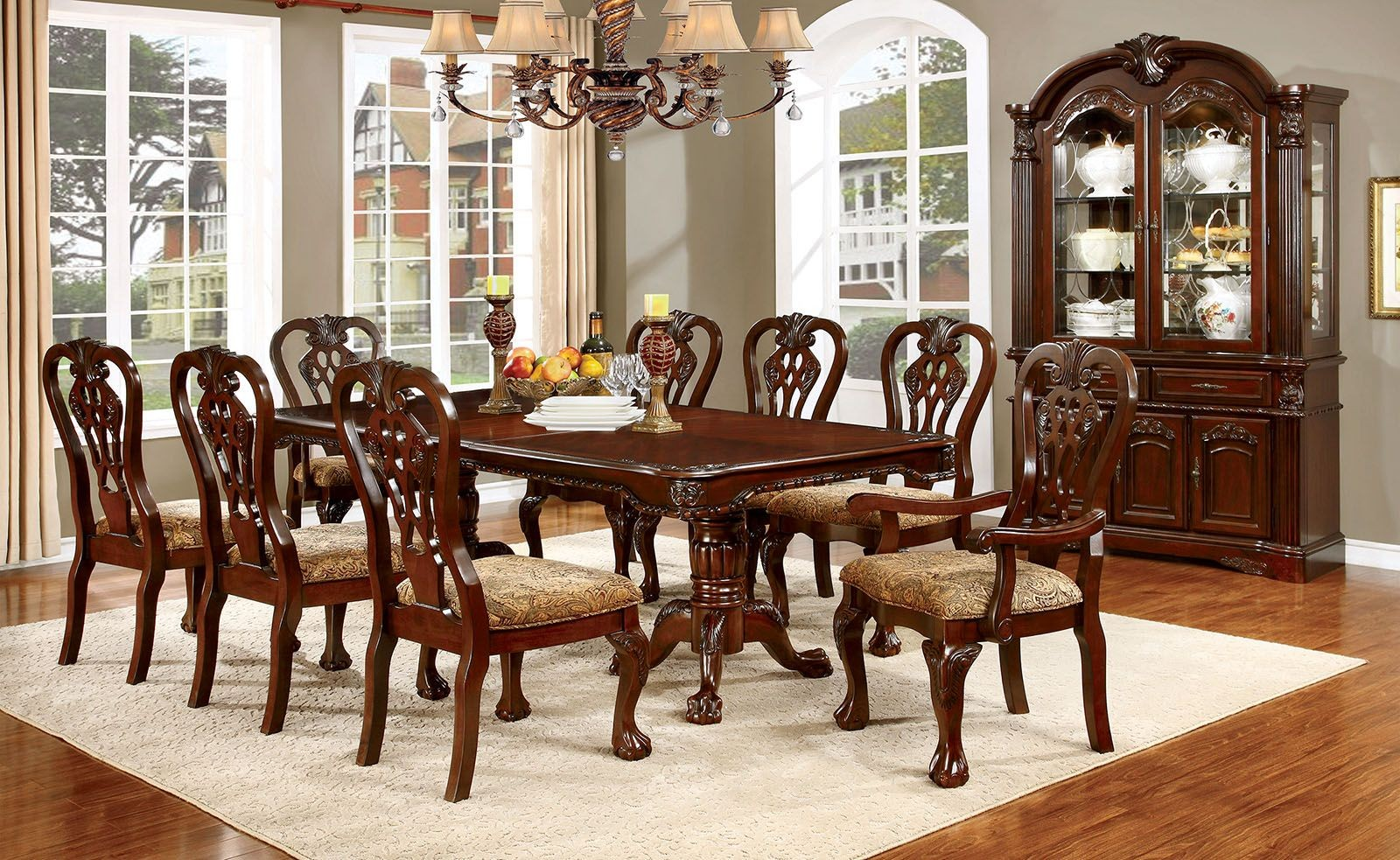 Elana Cherry Extendable Rectangular Dining Room Set CM3212T Furniture Of Am