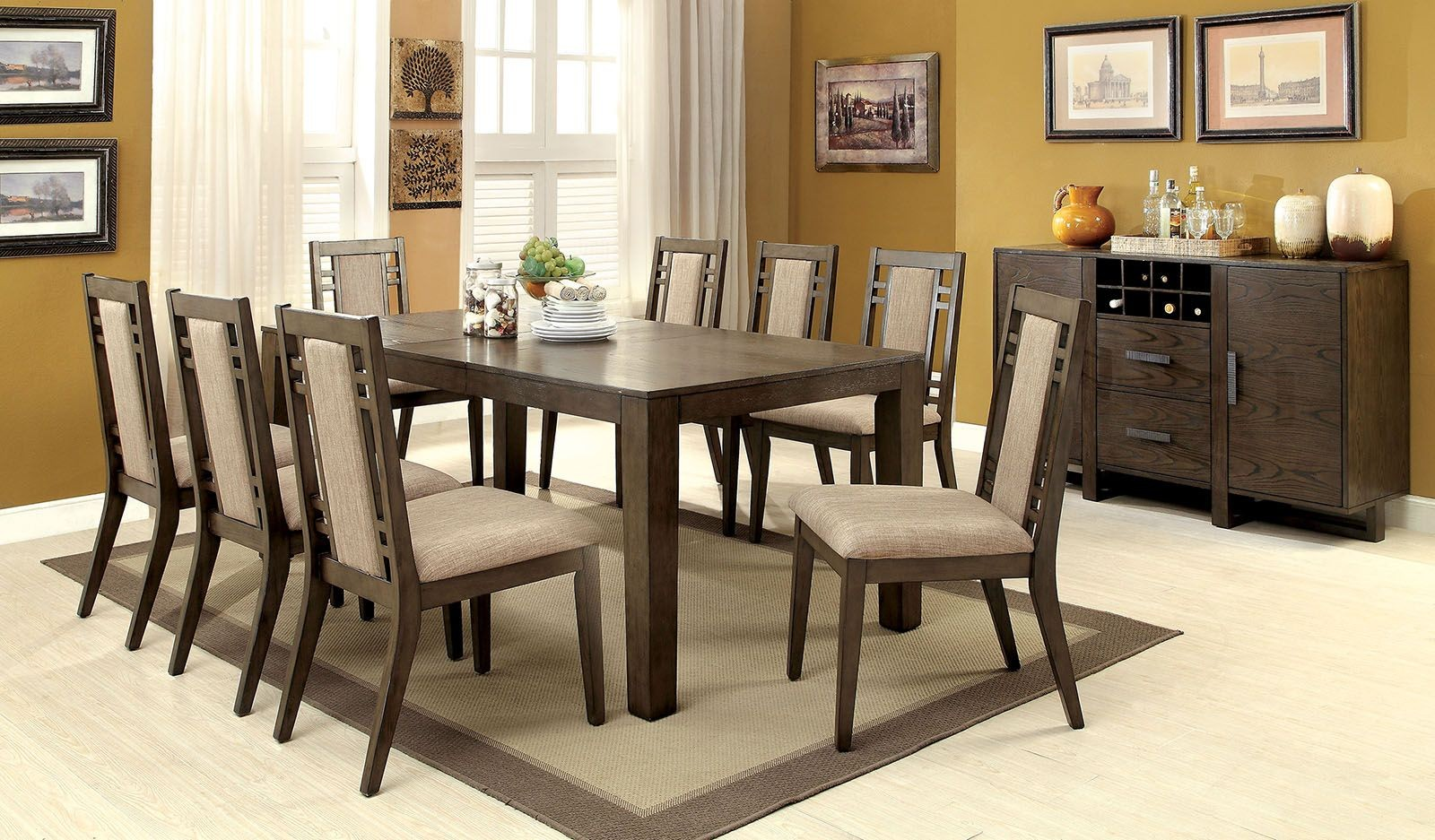 Eris I Weathered Gray Extendable Rectangular Dining Room Set CM3213T Furnit