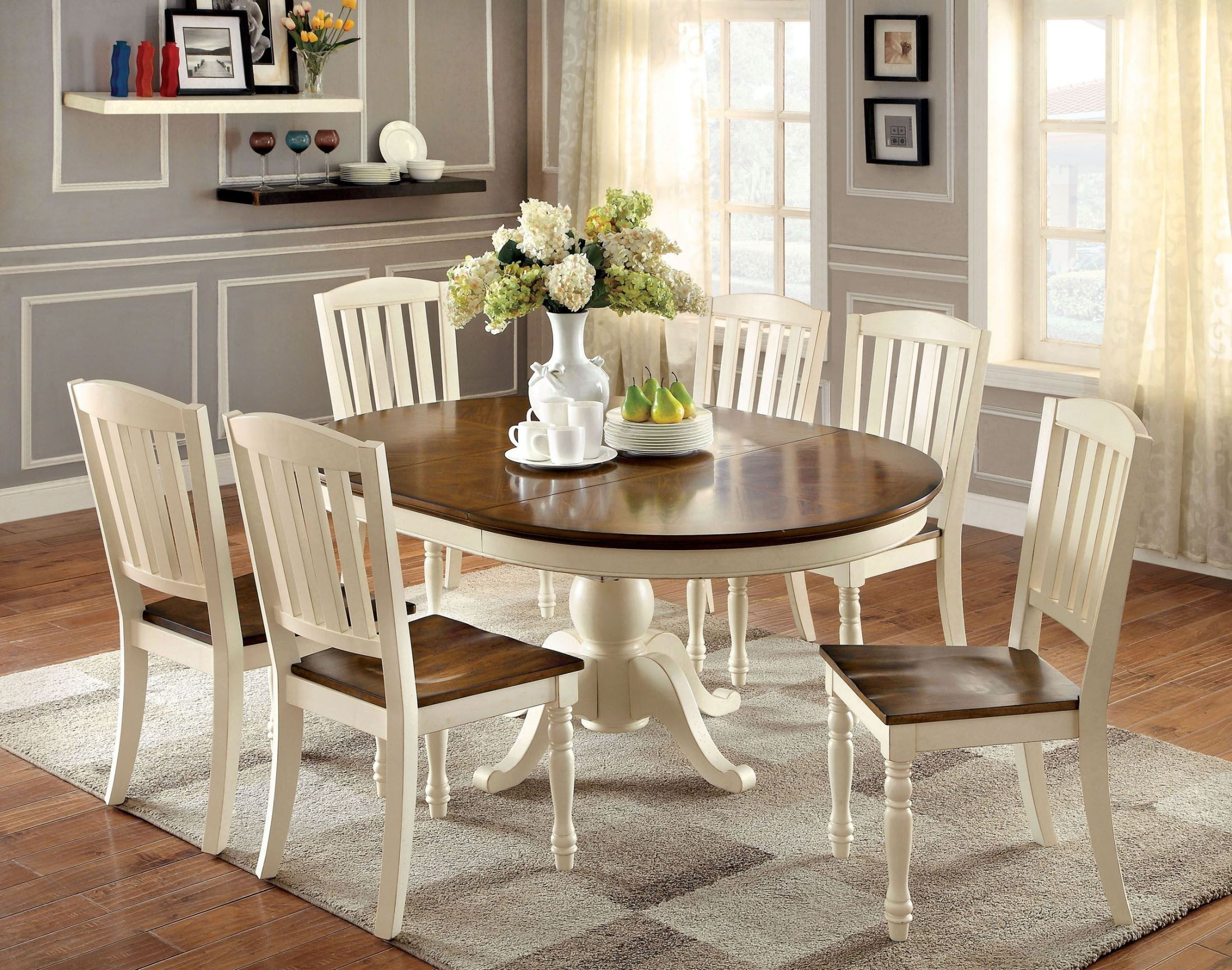 Harrisburg vintage white and dark oak oval extendable for White dinette sets