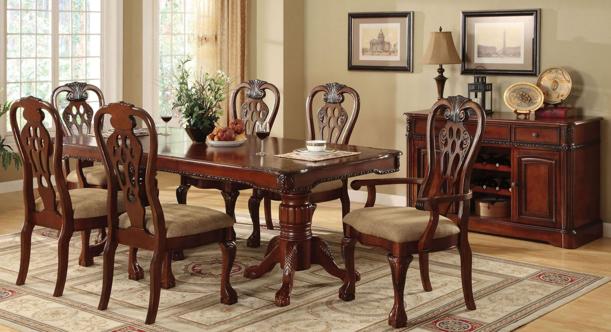 George town rectangular double pedestal formal dining room for Formal dining room furniture