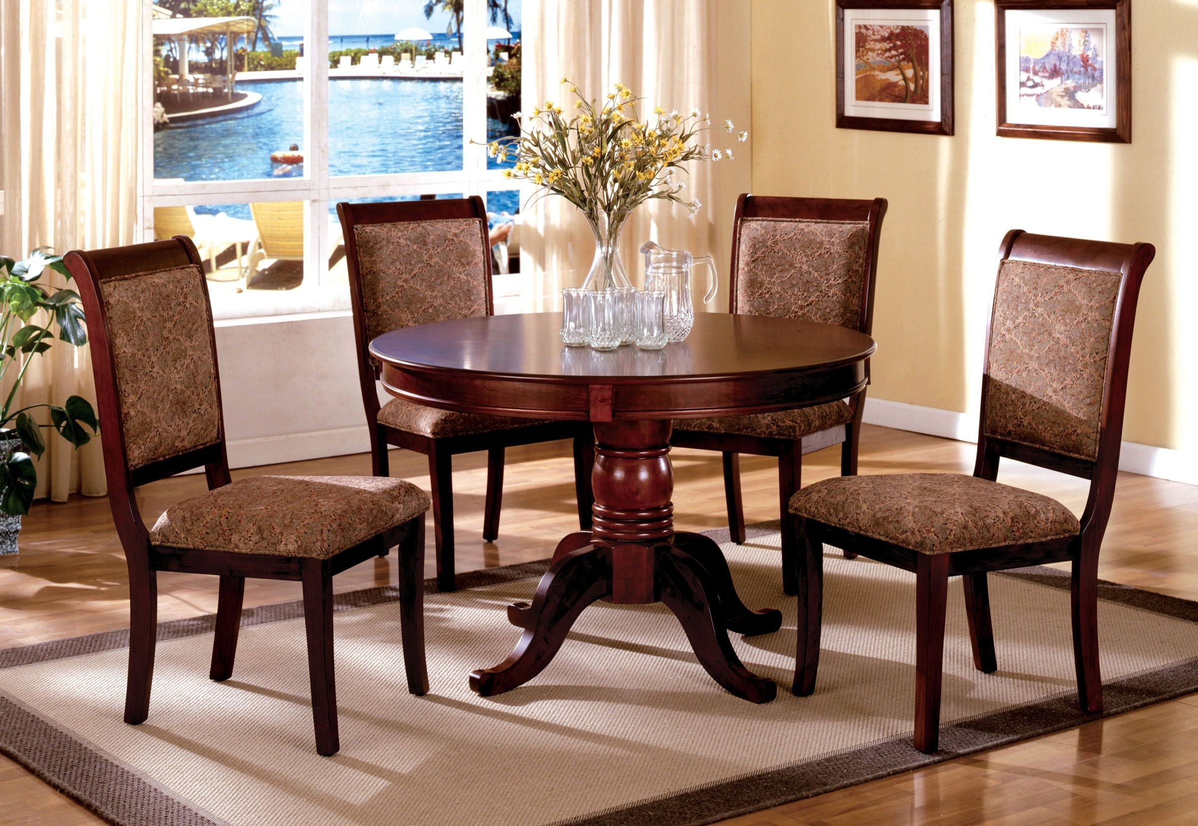 St nicholas ii antique cherry round pedestal dining room set from furniture of america Round dining table set