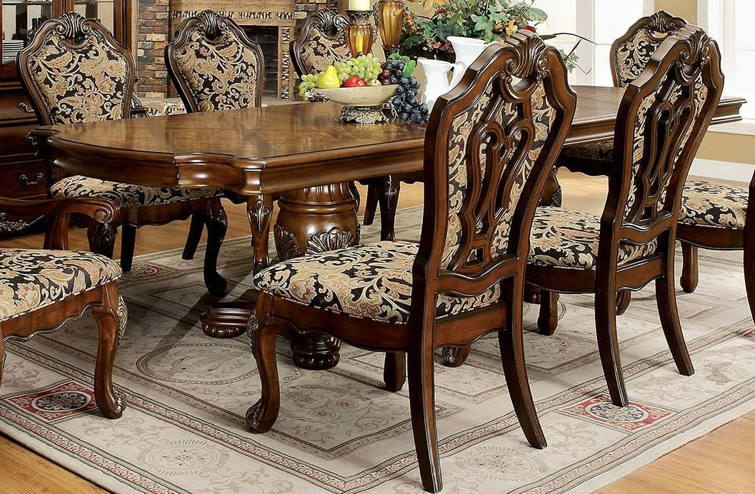 cherry extendable rectangular dining room set cm3243t furniture